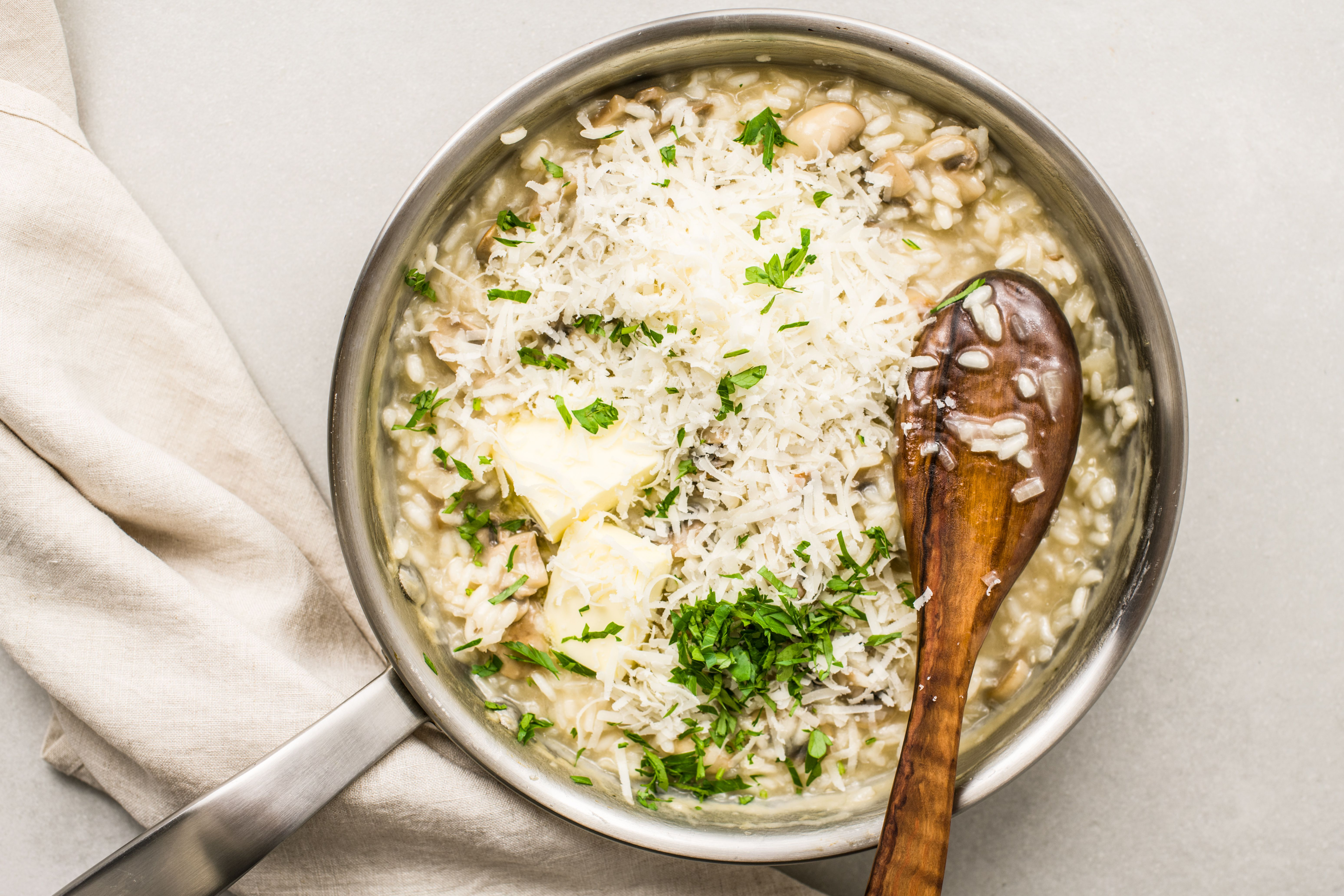 Stir in butter, cheese, and parsley