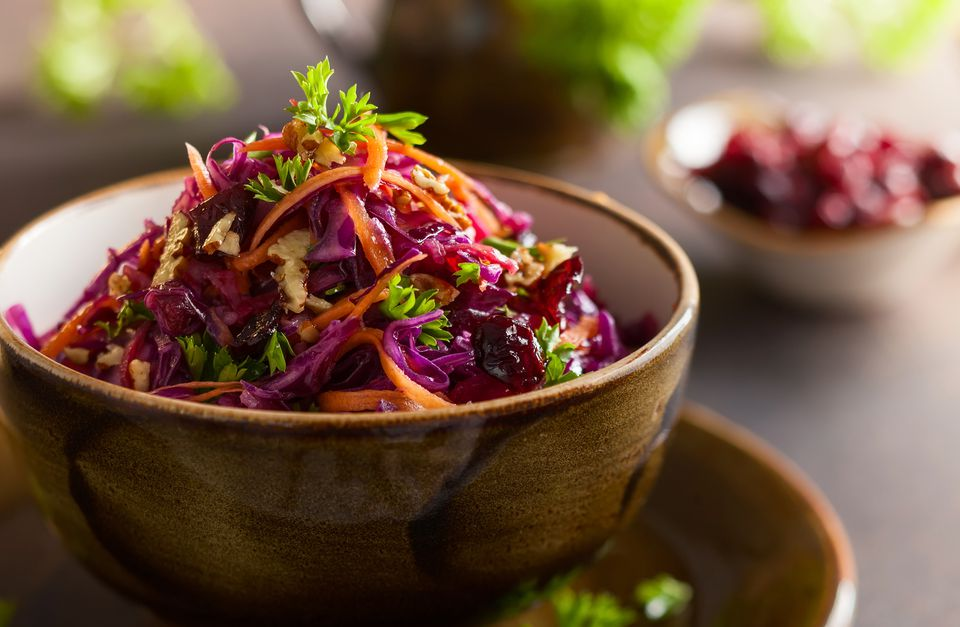 Cole slaw salad with purple cabbage