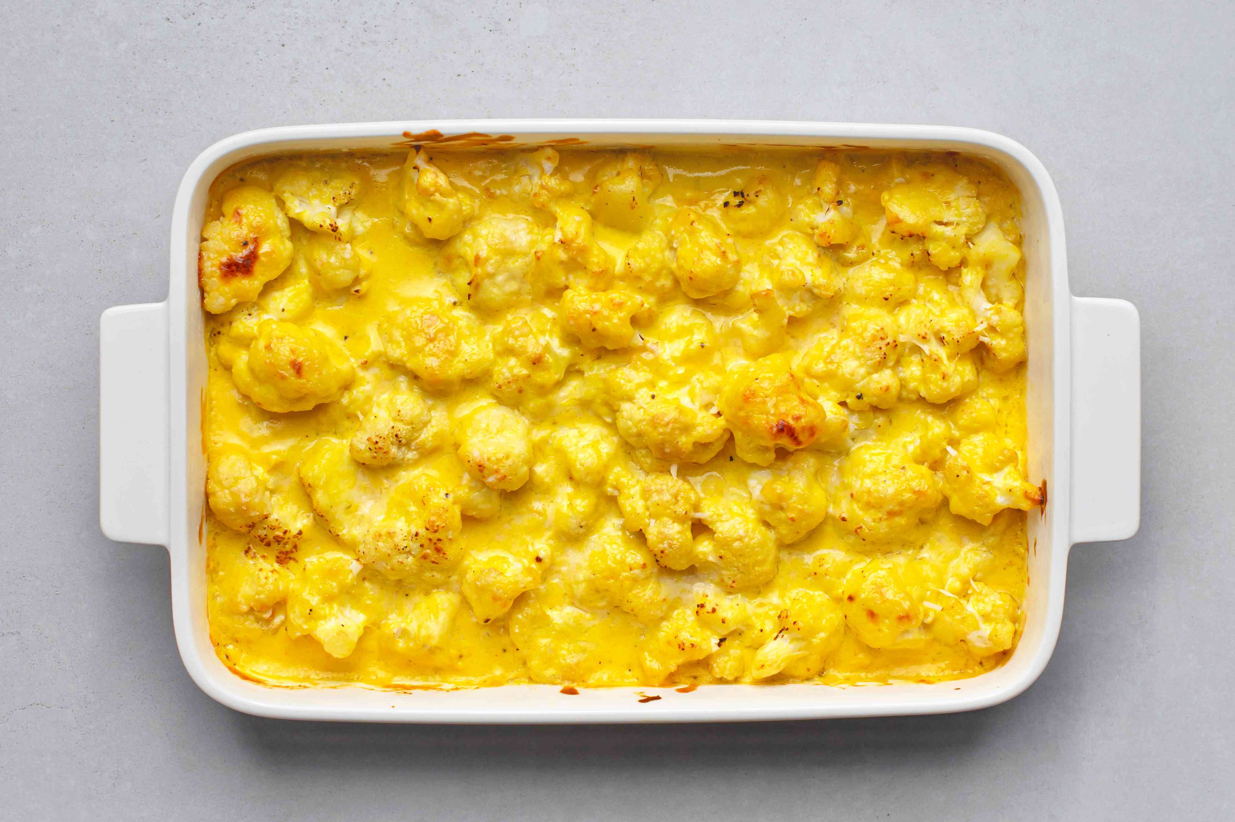 Cauliflower Mac and Cheese, in a baking dish