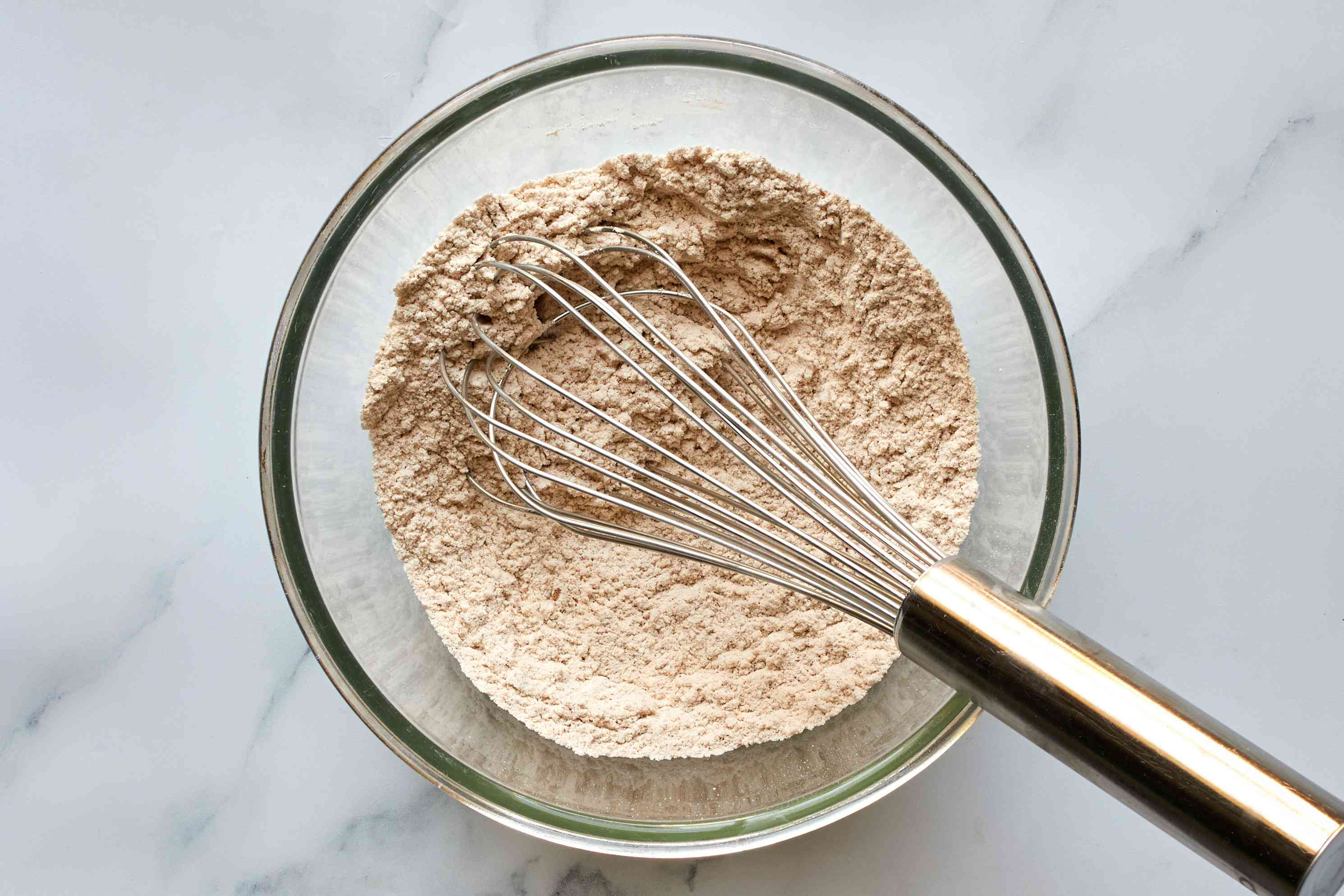 flour, baking powder, spices, and salt in a bowl