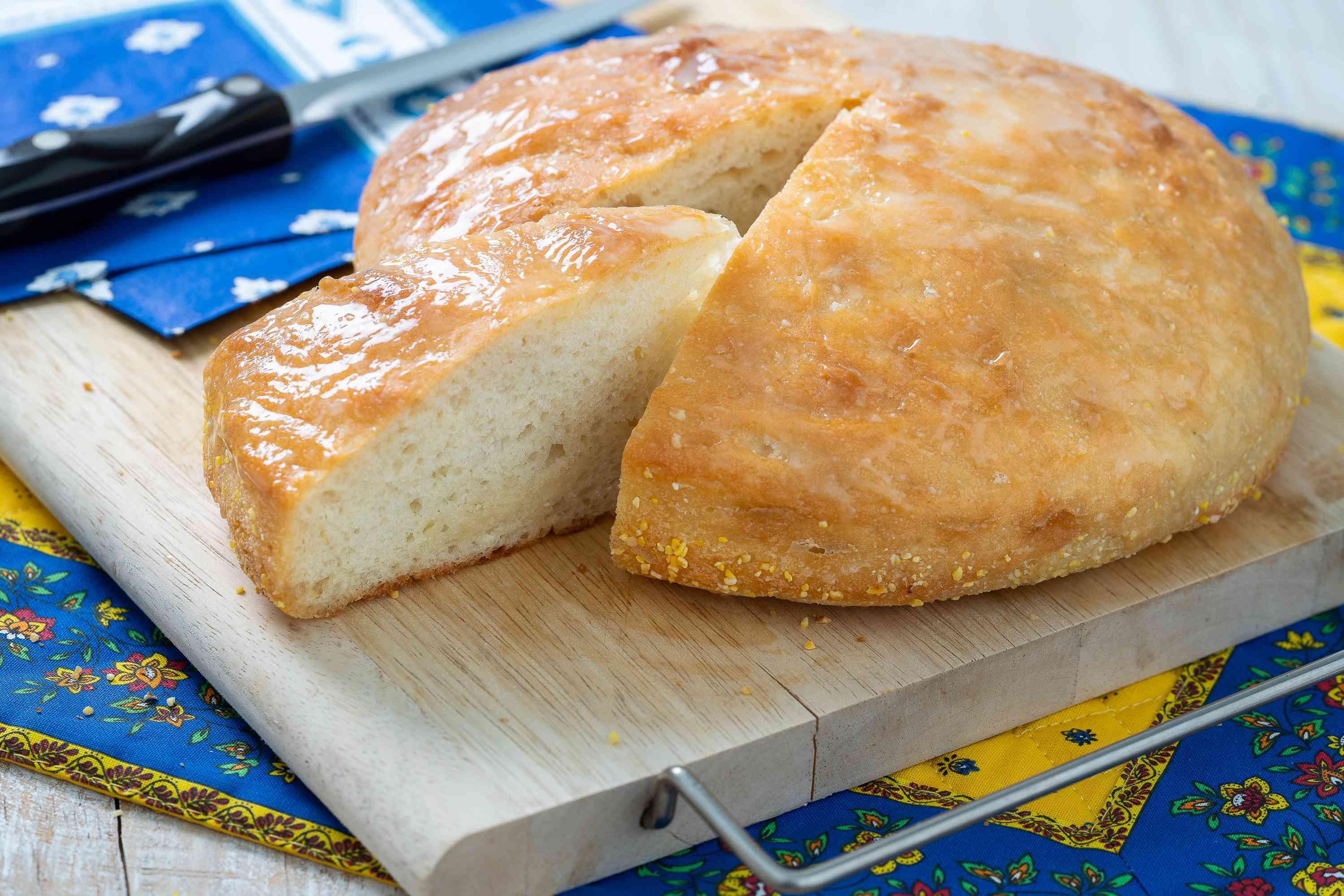 Peasant bread on a cutting board