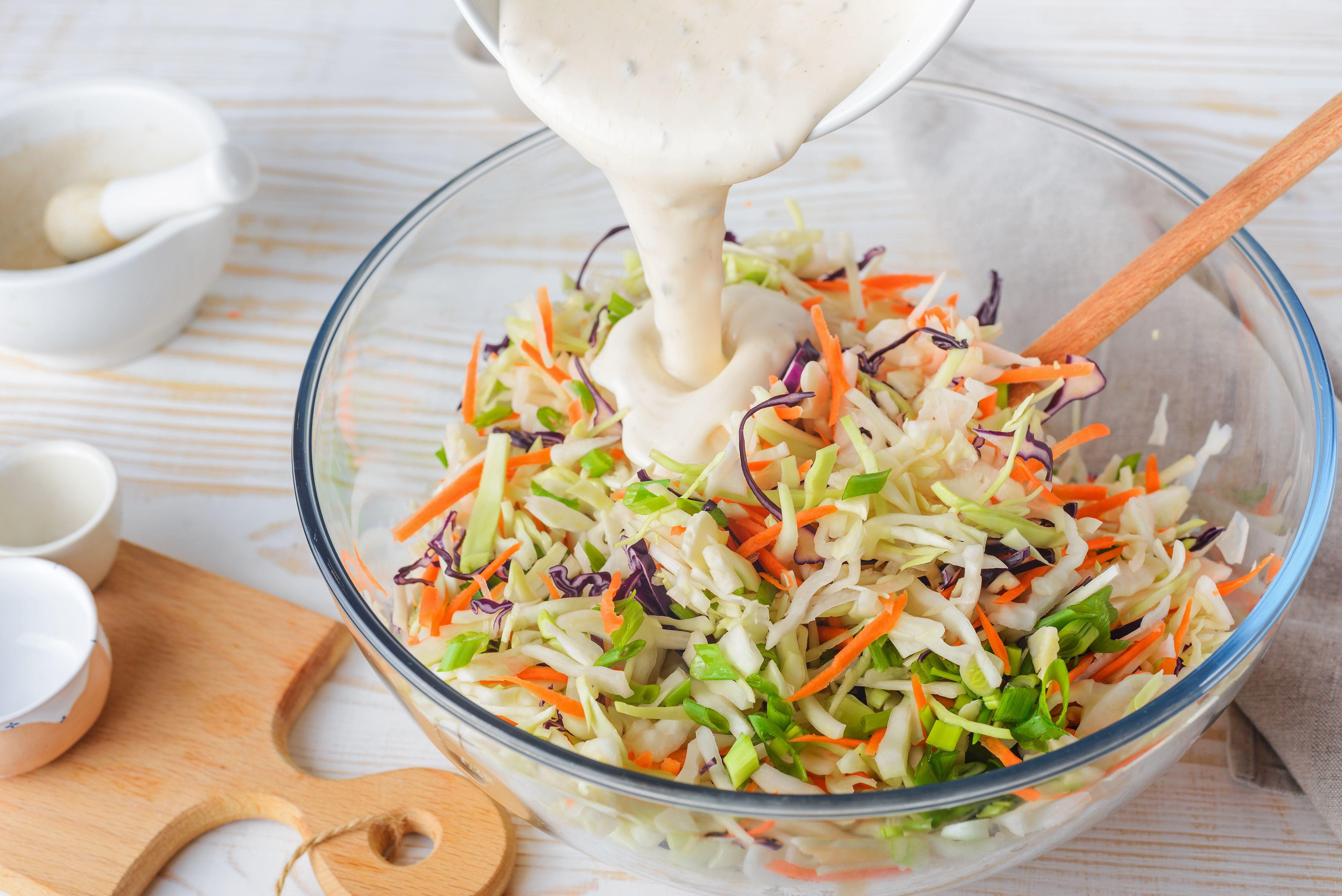 Dressing on coleslaw