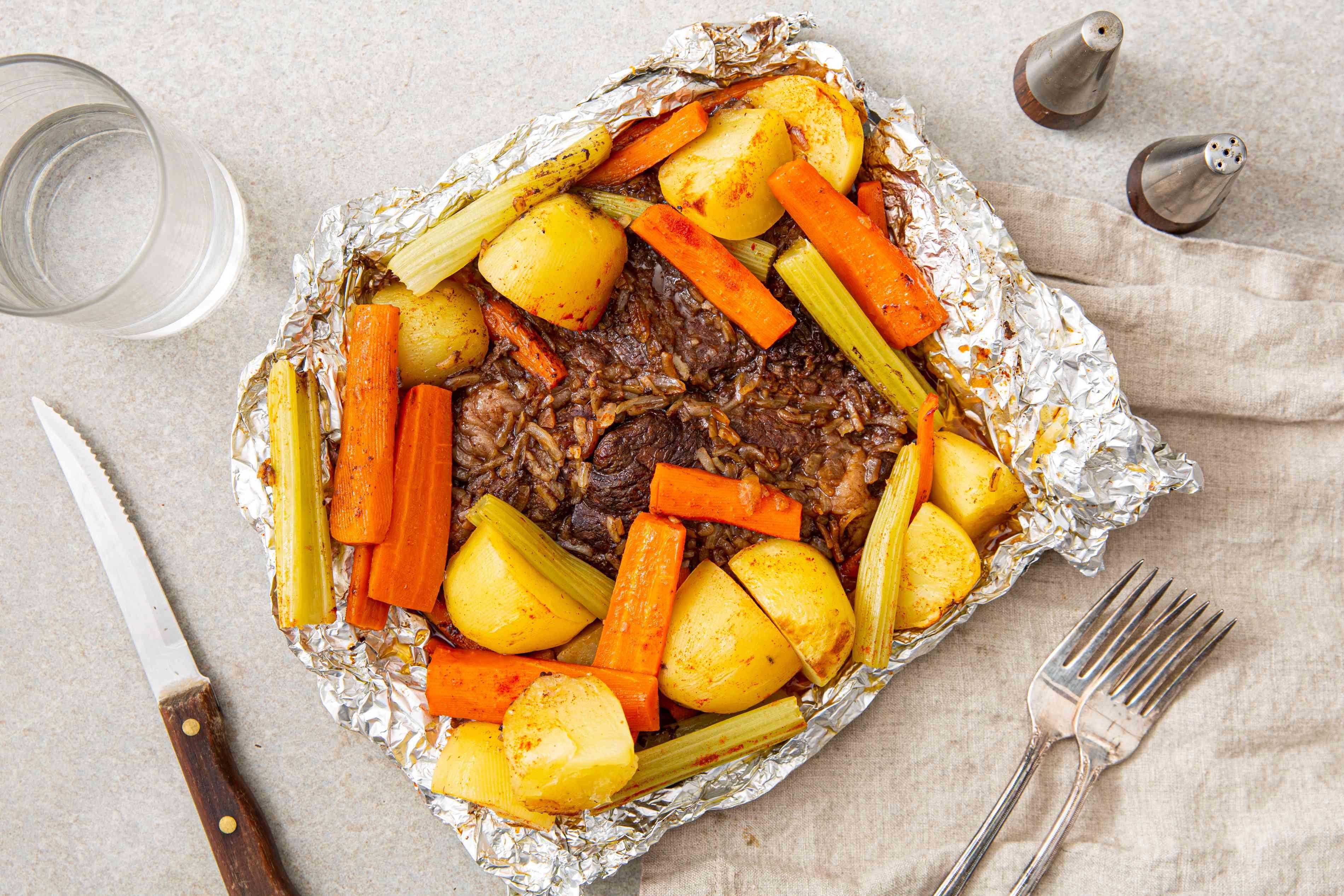Budget chuck steak dinner in foil recipe