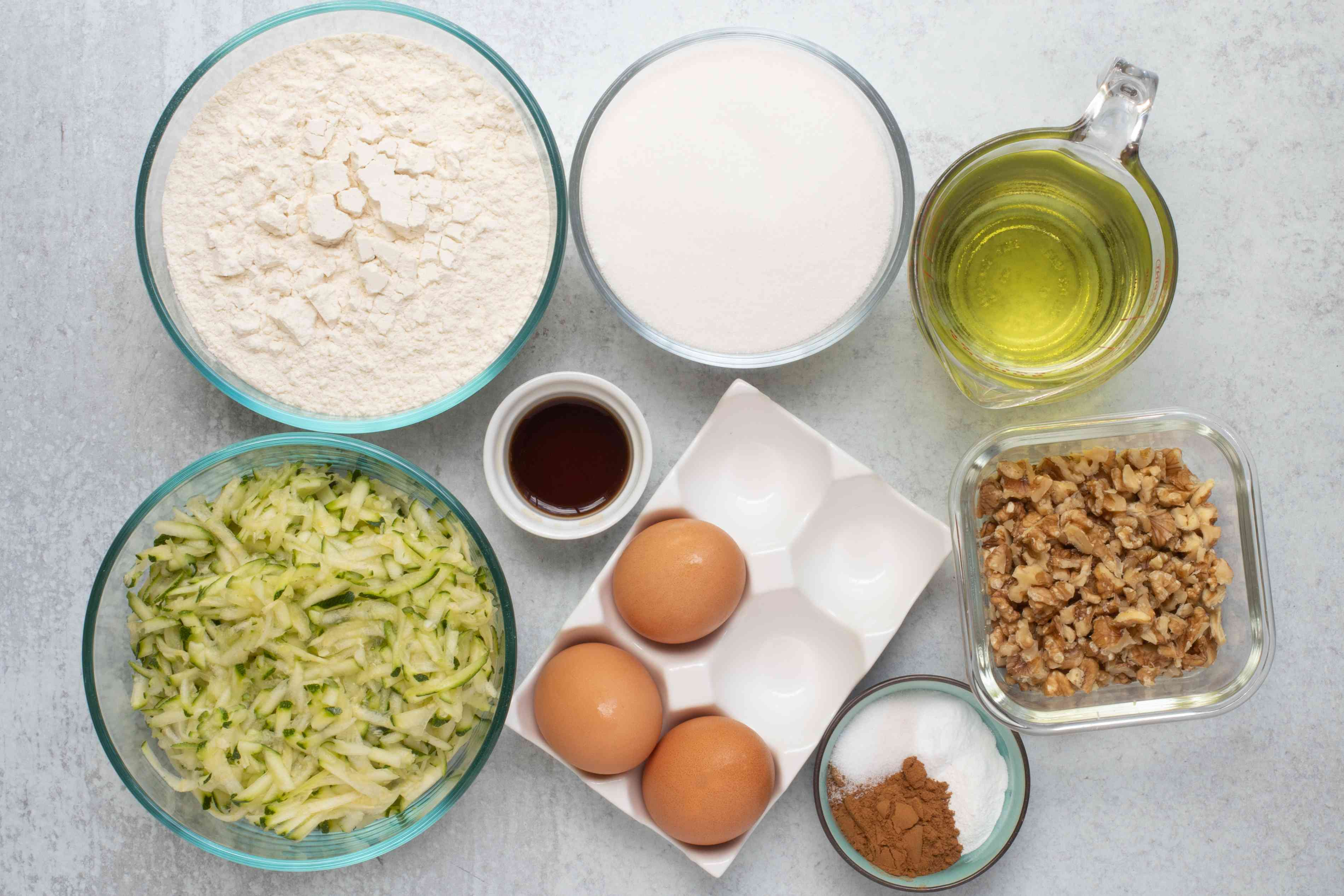 ingredients for classic zucchini bread