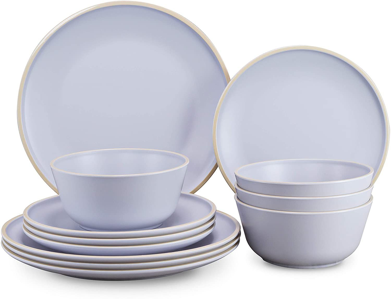 Gufaith 12-Piece Melamine Dinnerware Set