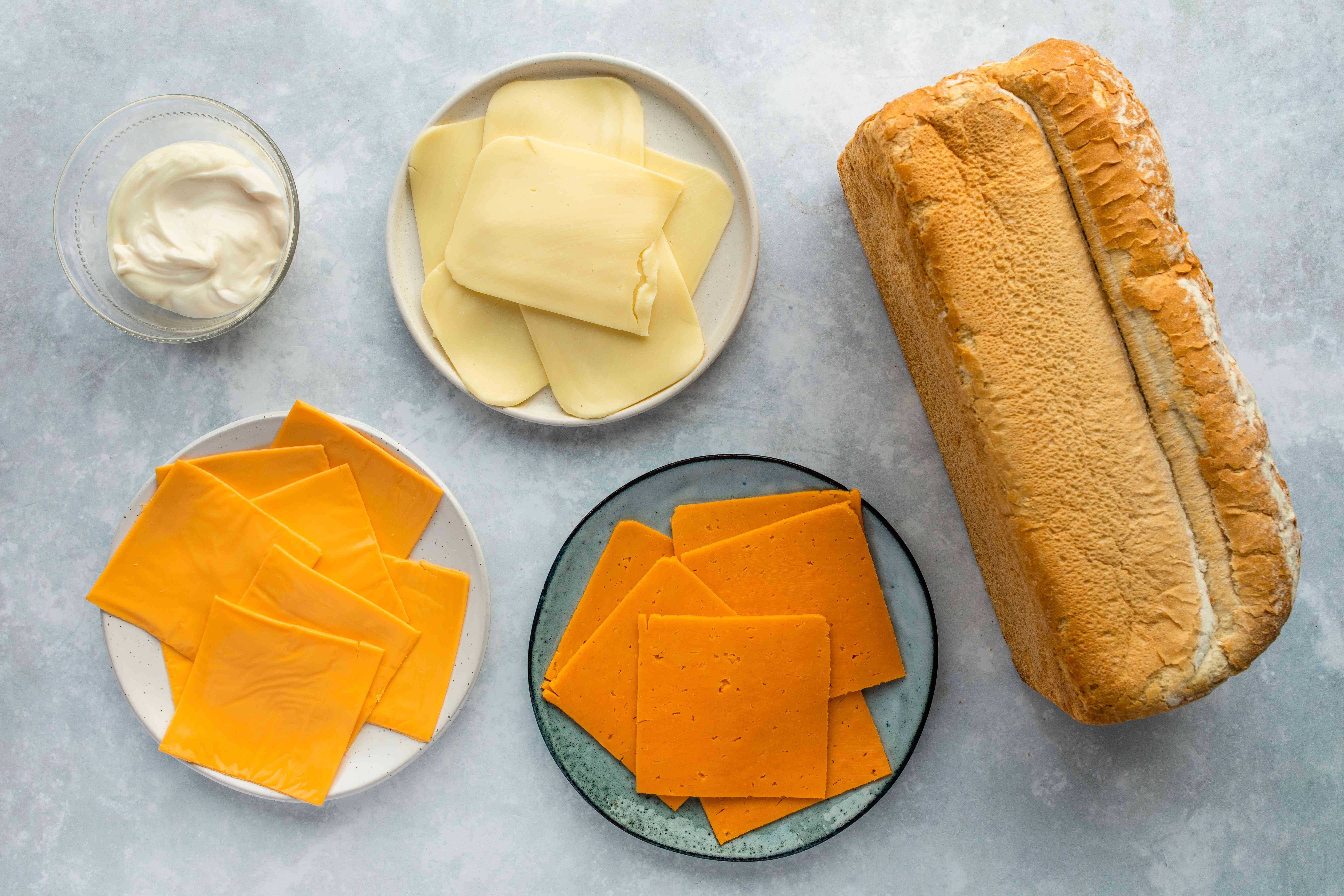 Ingredients for giant grilled cheese