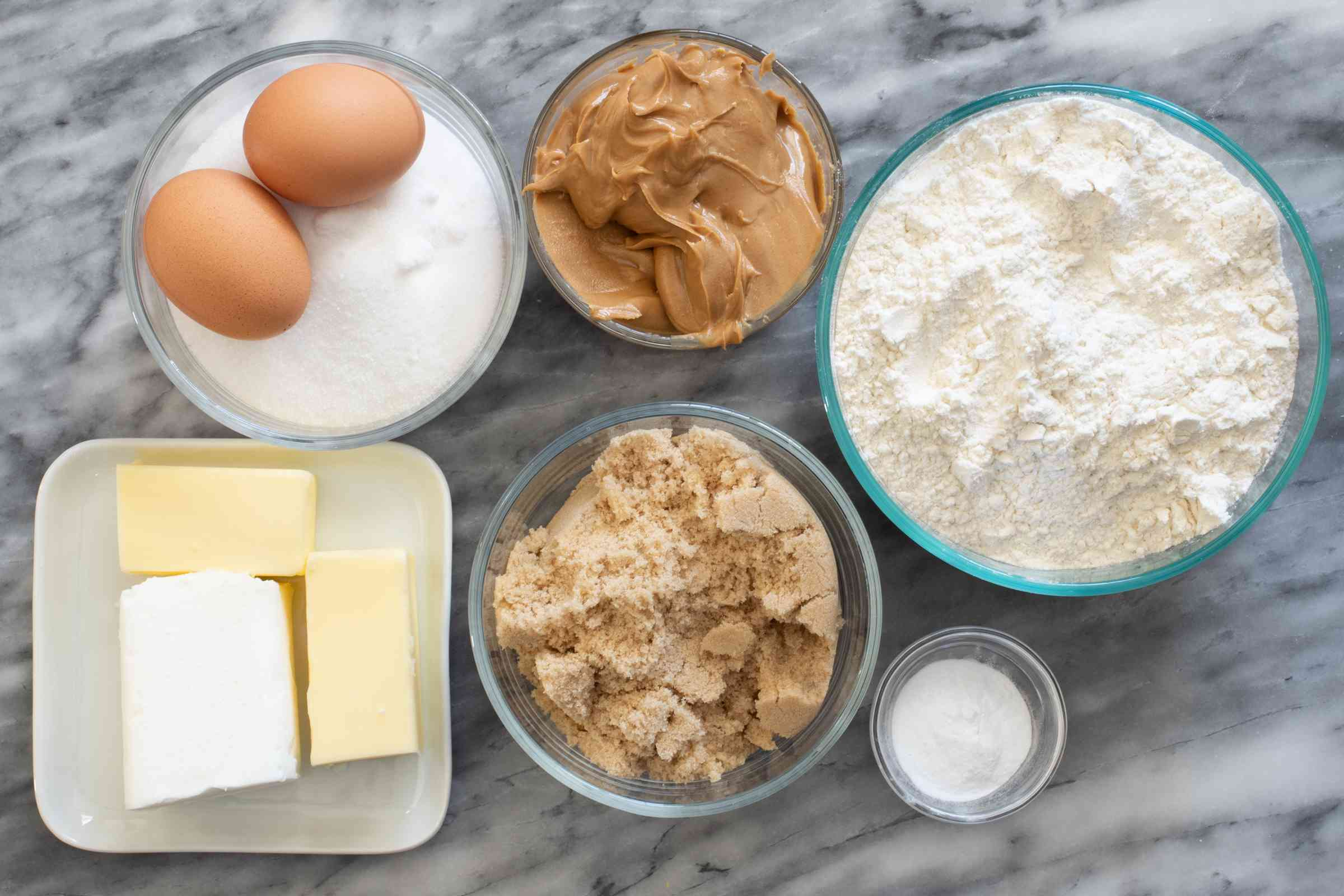 Ingredients for peanut butter refrigerator cookies.