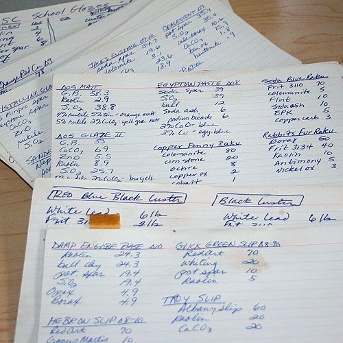 Four by six inch index cards filled with glaze recipes used in pottery.