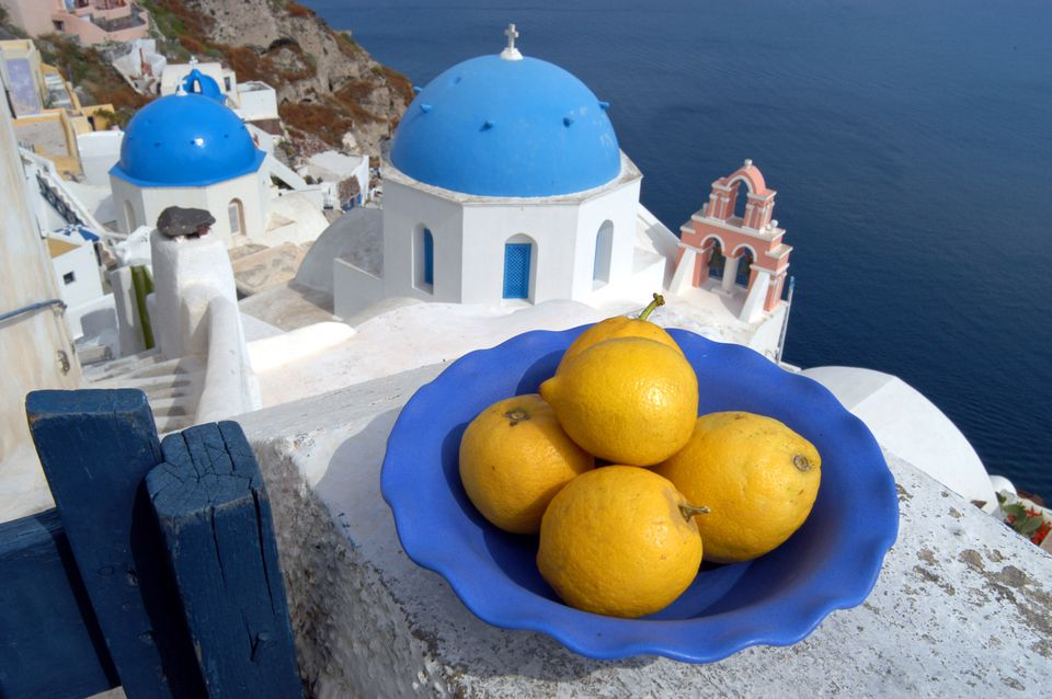 Mediterranean architecture and a bowl of lemons