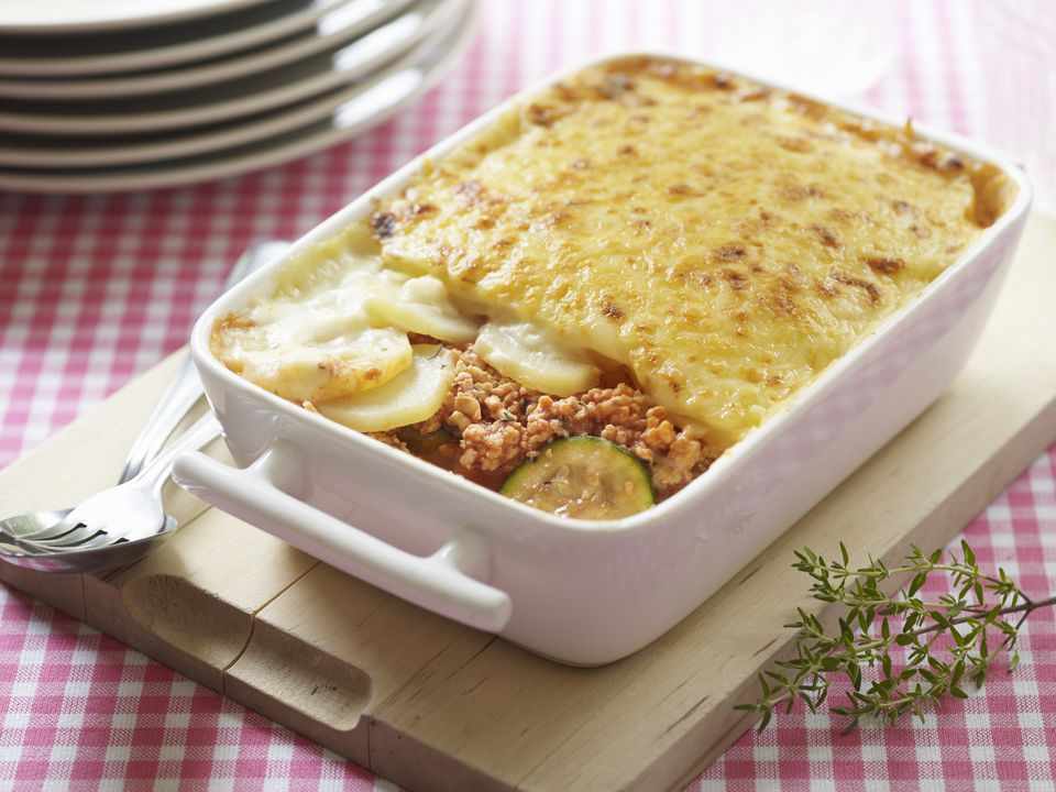 Greek moussaka with potatoes