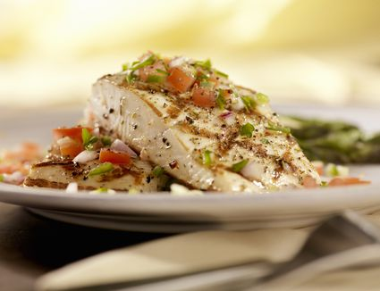 Grilled Halibut with Salsa and Roasted Asparagus