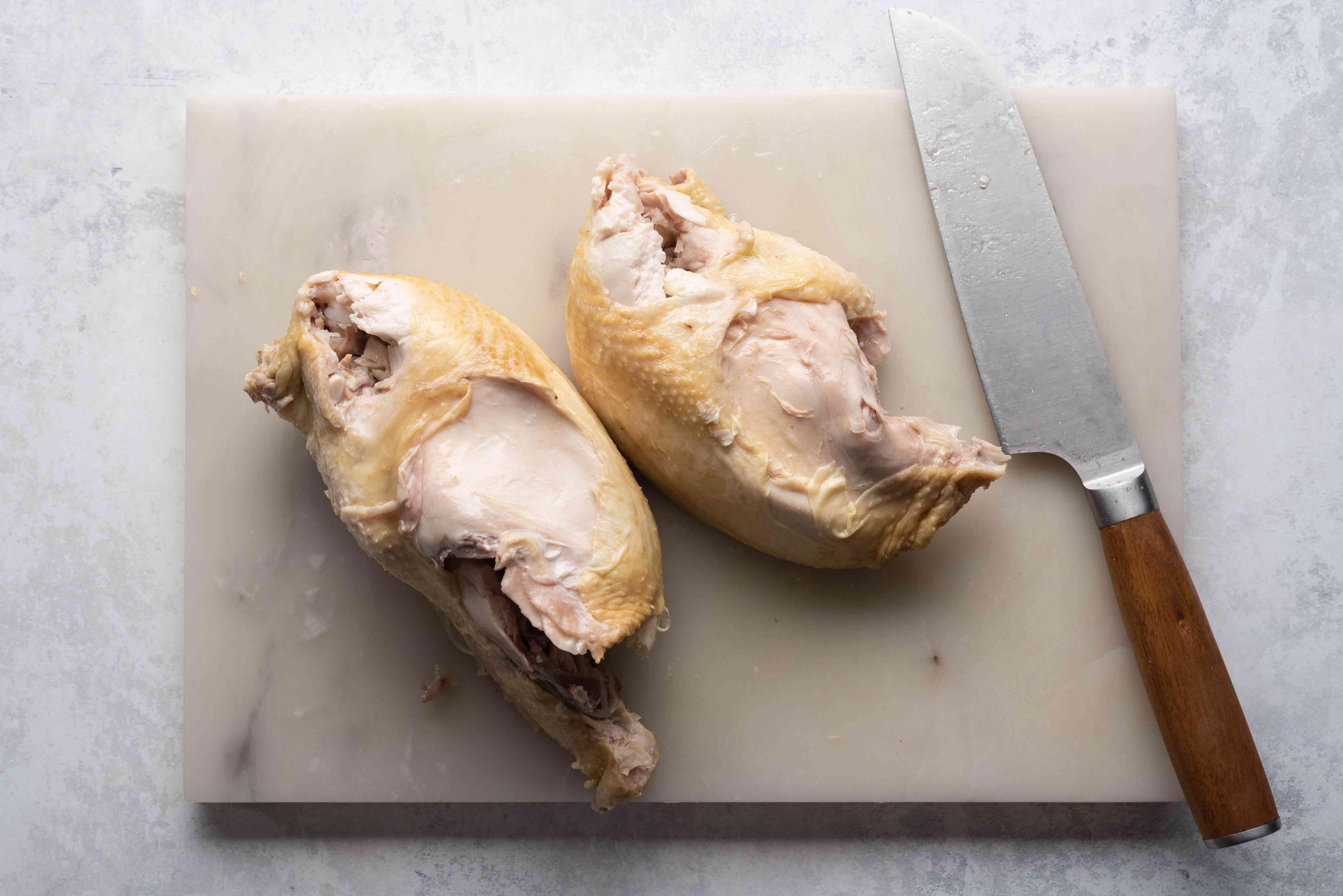 cut chicken in half