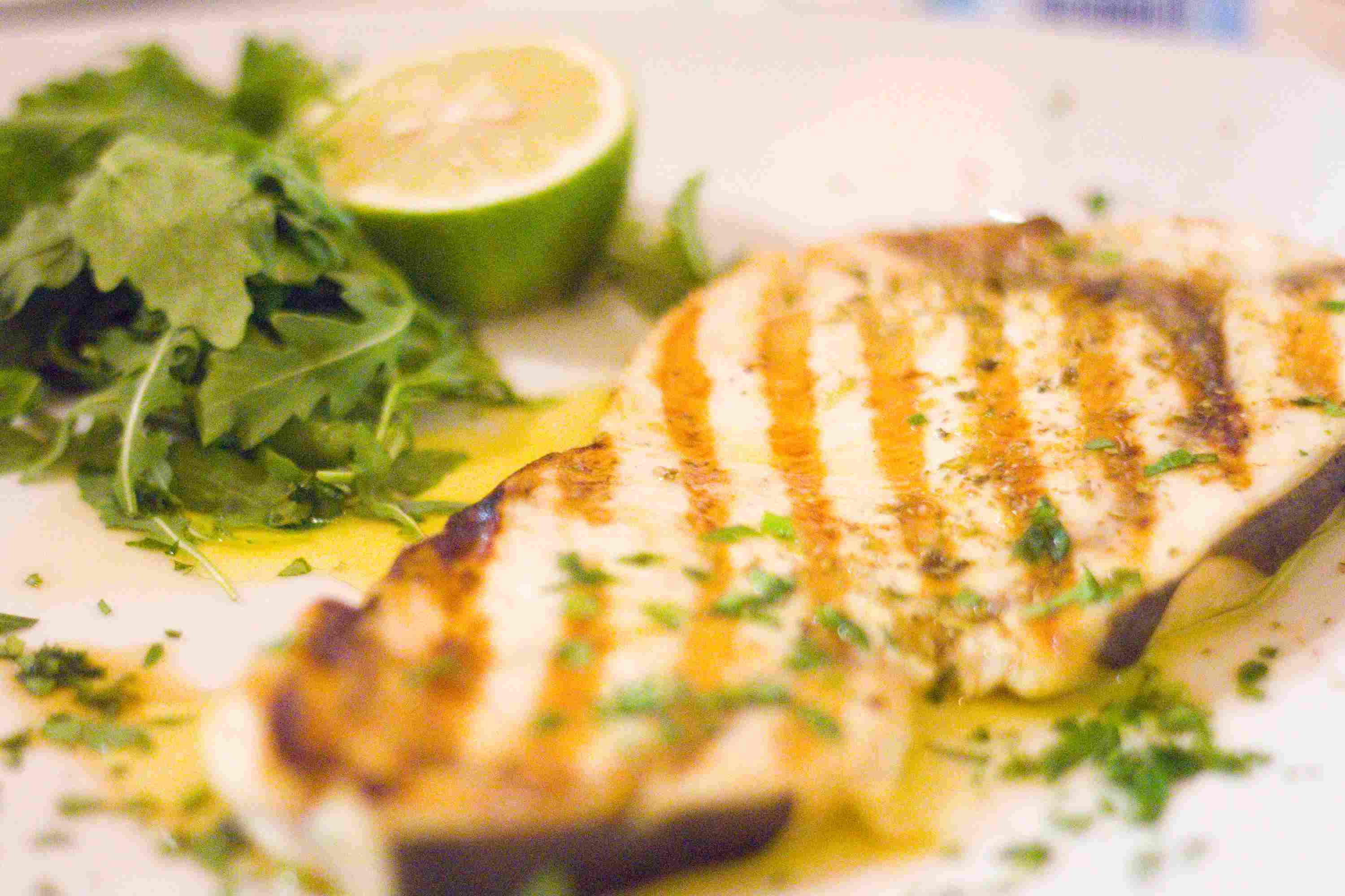 Close Up Of Grilled Swordfish In Plate