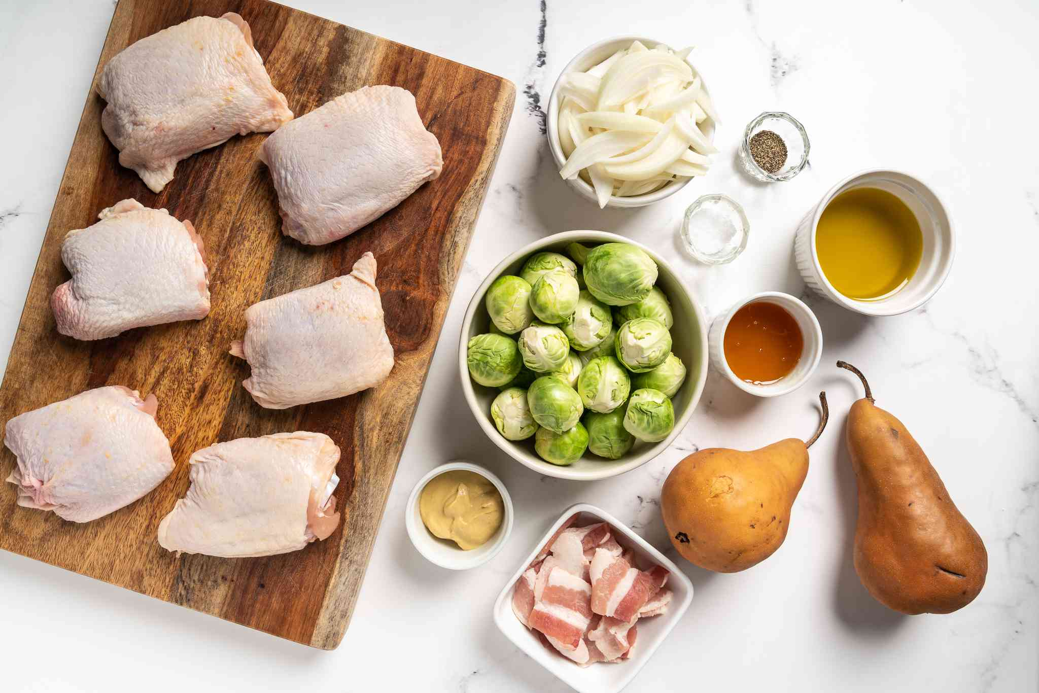 Roasted Chicken Thighs With Brussels Sprouts and Pears ingredients