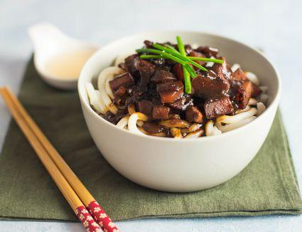 Korean noodles with black bean sauce
