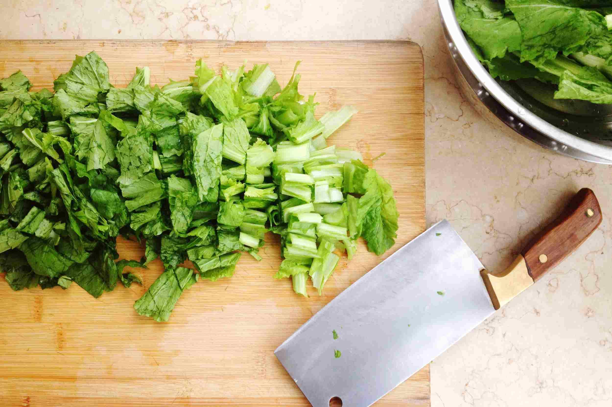 Chopped lettuce on cutting board