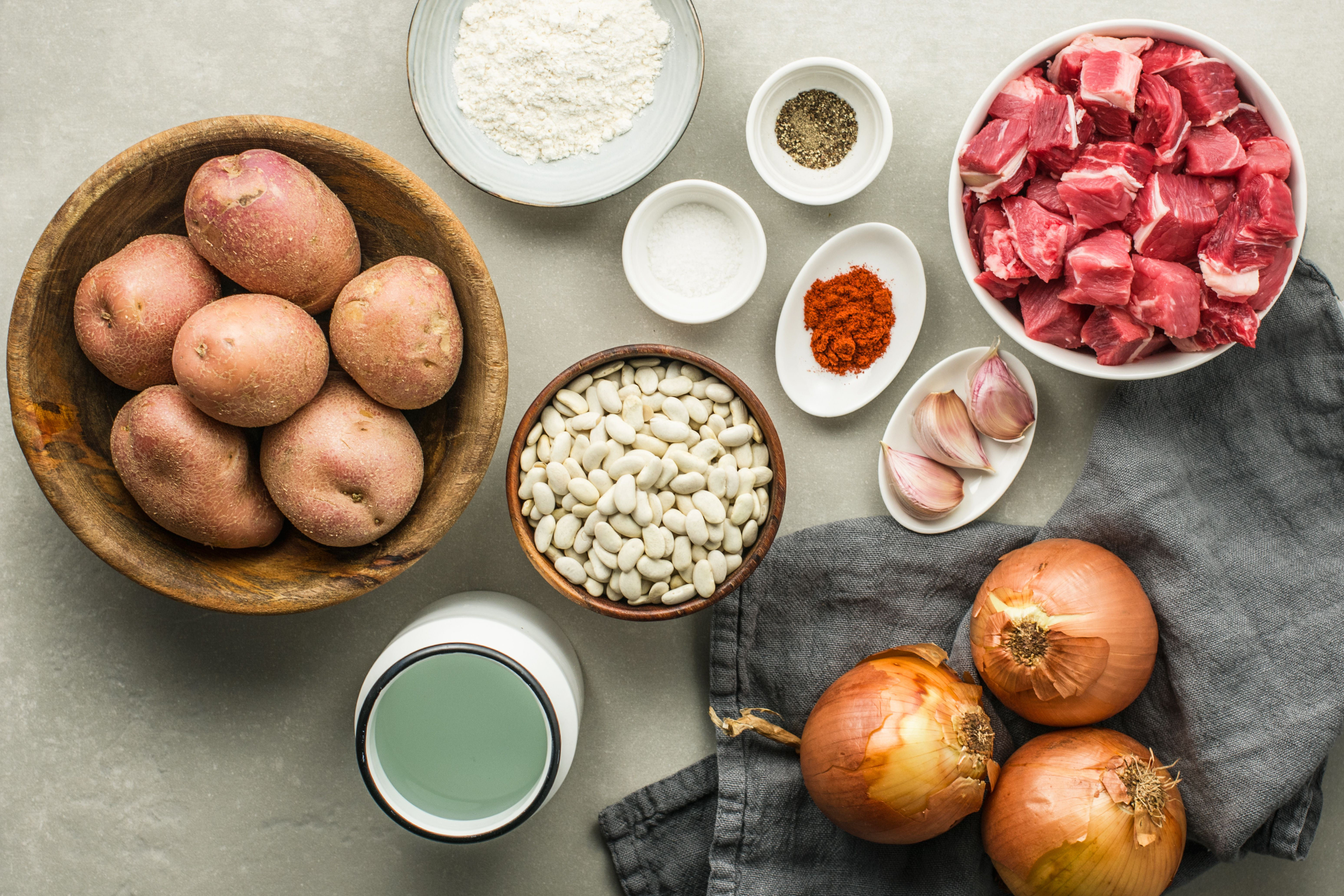 Ingredients for kosher traditional meat cholent