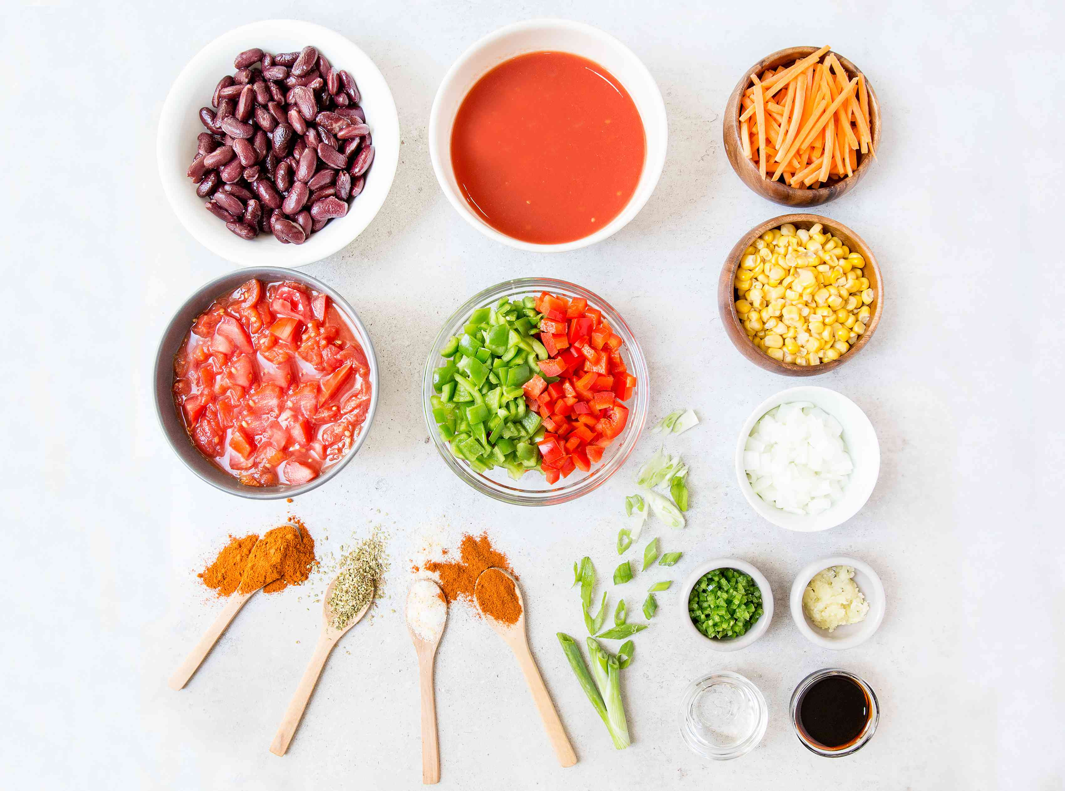 Ingredients for low calorie vegetable soup