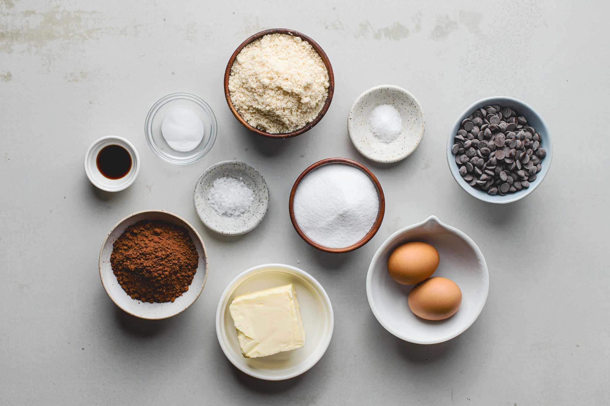 Ingredients for keto chocolate cookies