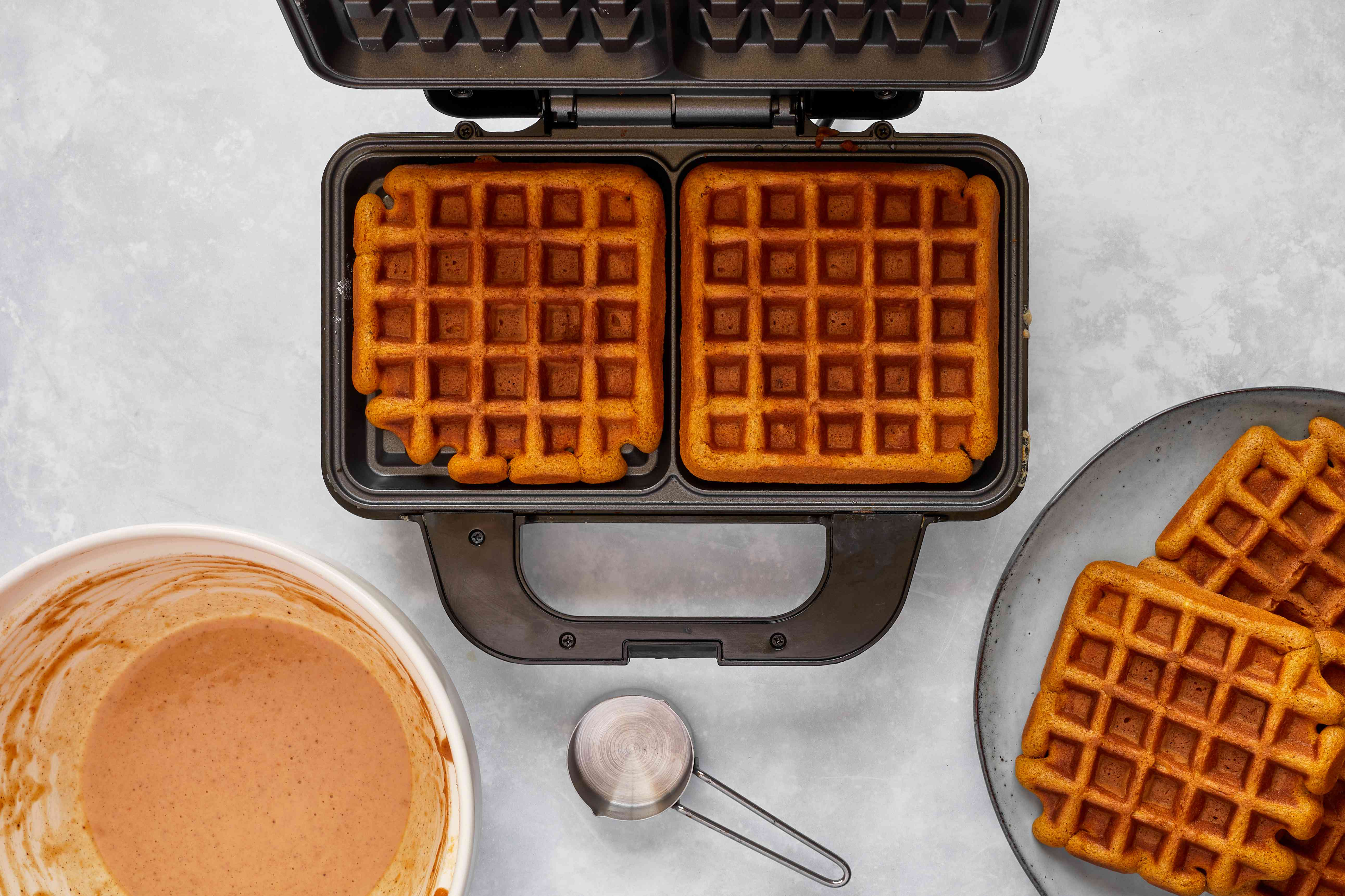 waffles in the waffle iron