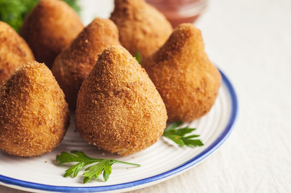 Coxinha Brazillian chicken croquettes on a plate