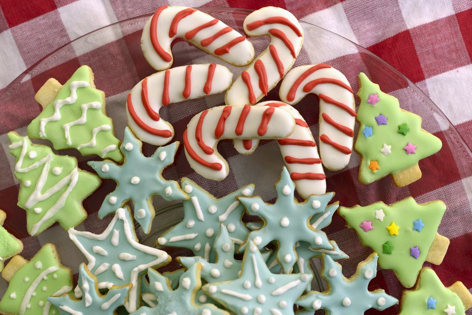 Christmas Tree, Candy Cane, and Snowflake Sugar Cookies