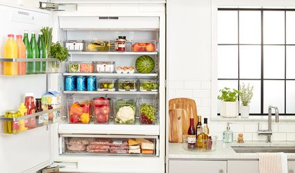 fridge organized using The Spruce and Lowe's organization bins