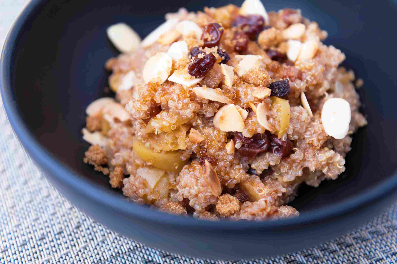 Maple cinnamon quinoa breakfast bowl