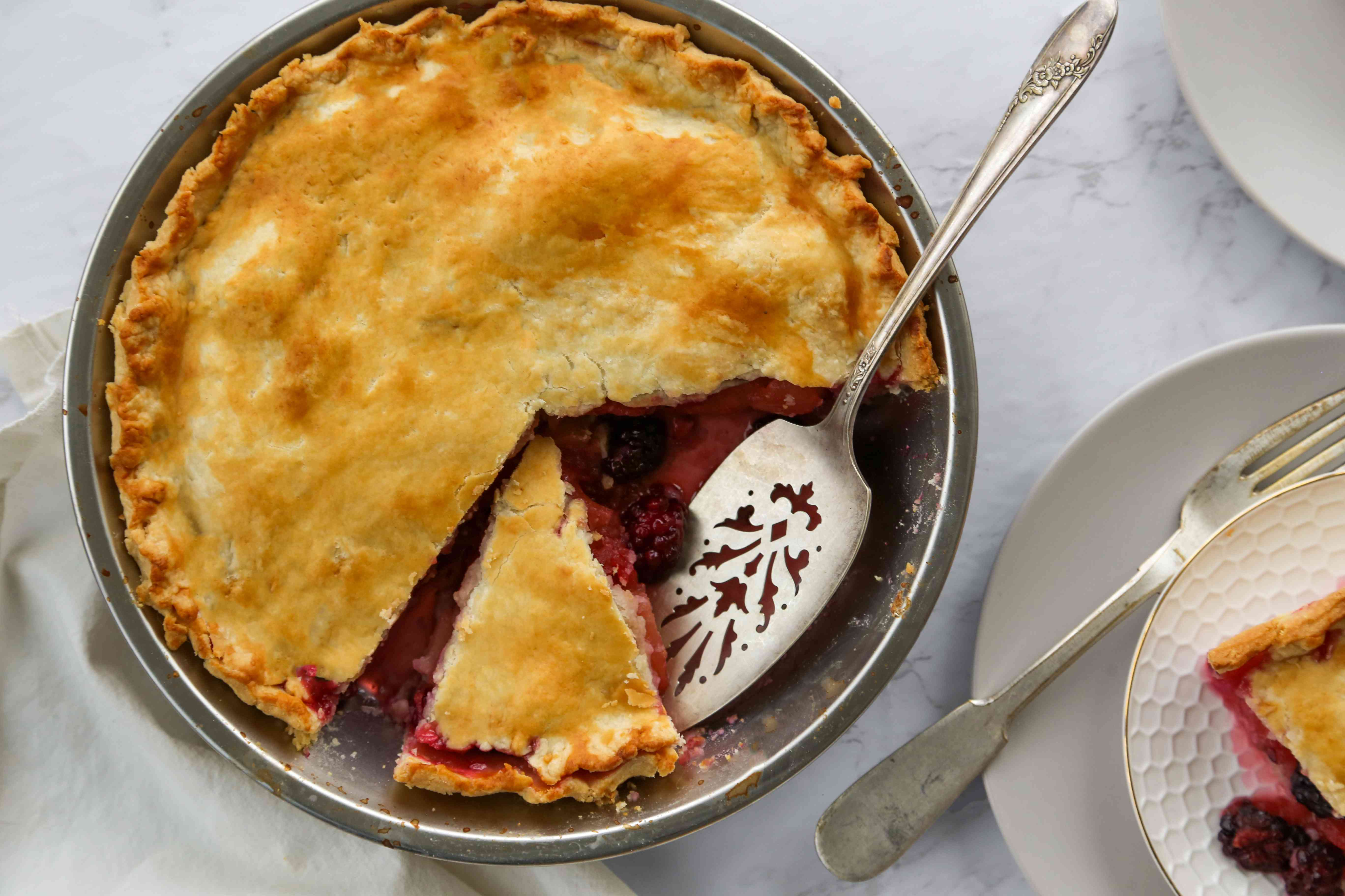 British apple and blackberry pie