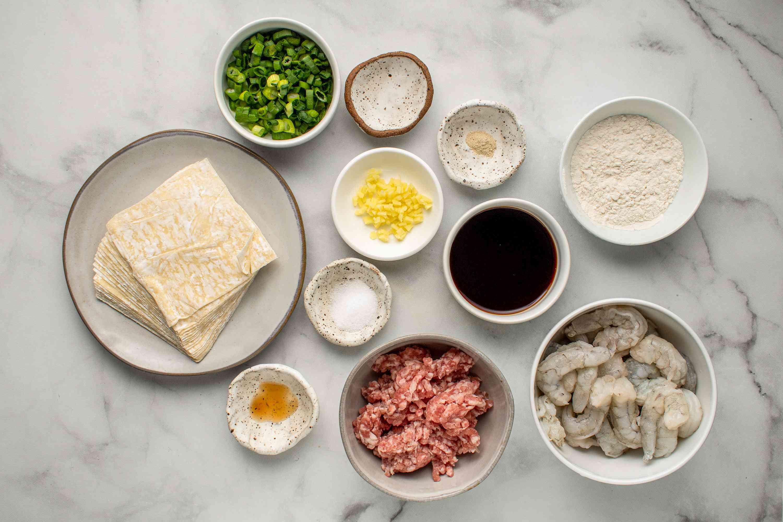 Pork and Shrimp Wonton ingredients
