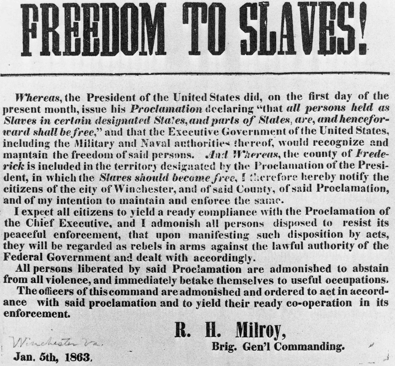 Freedom to slaves notice