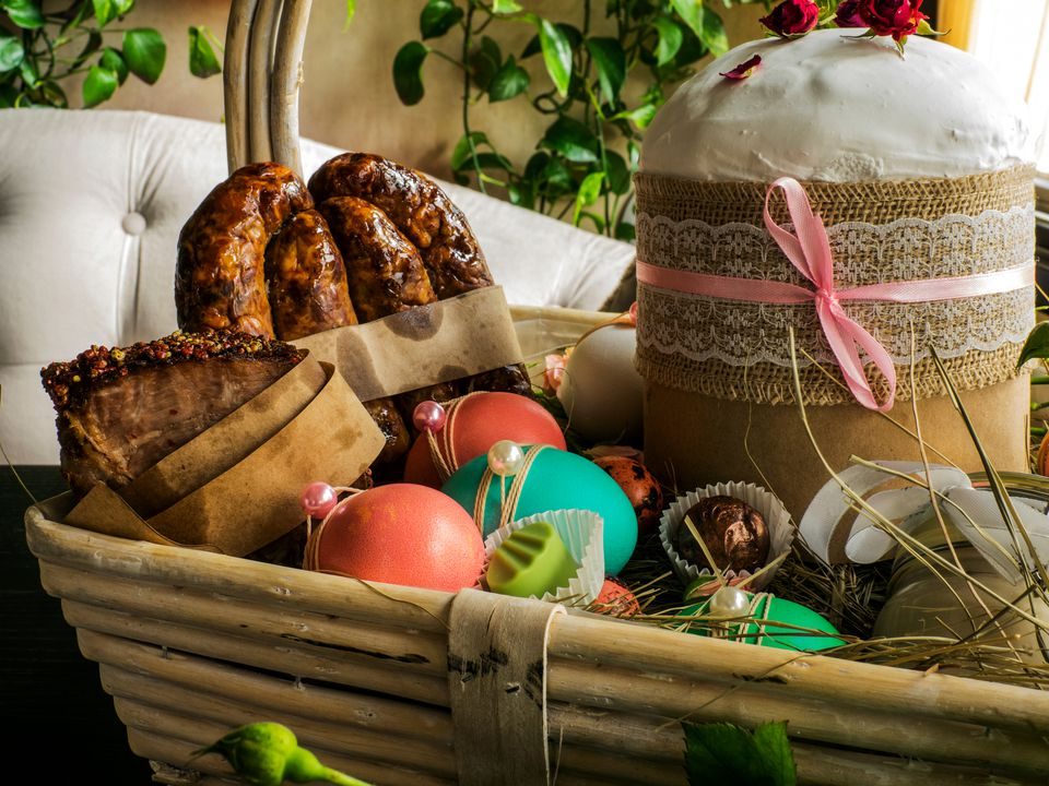 Close-Up Of Food In Basket During Easter