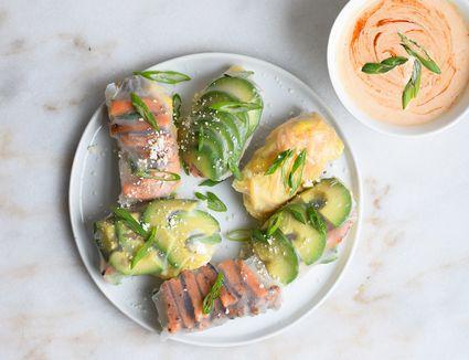 savory breakfast summer rolls on a plate