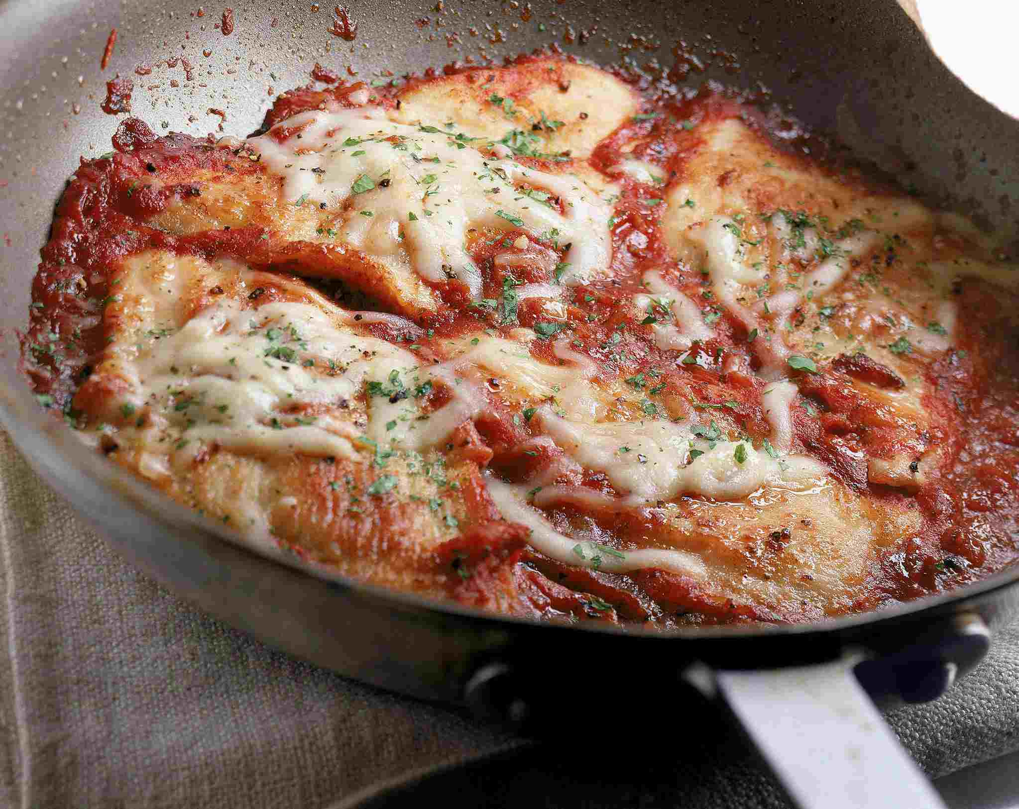 Chicken Parmesan in frying pan