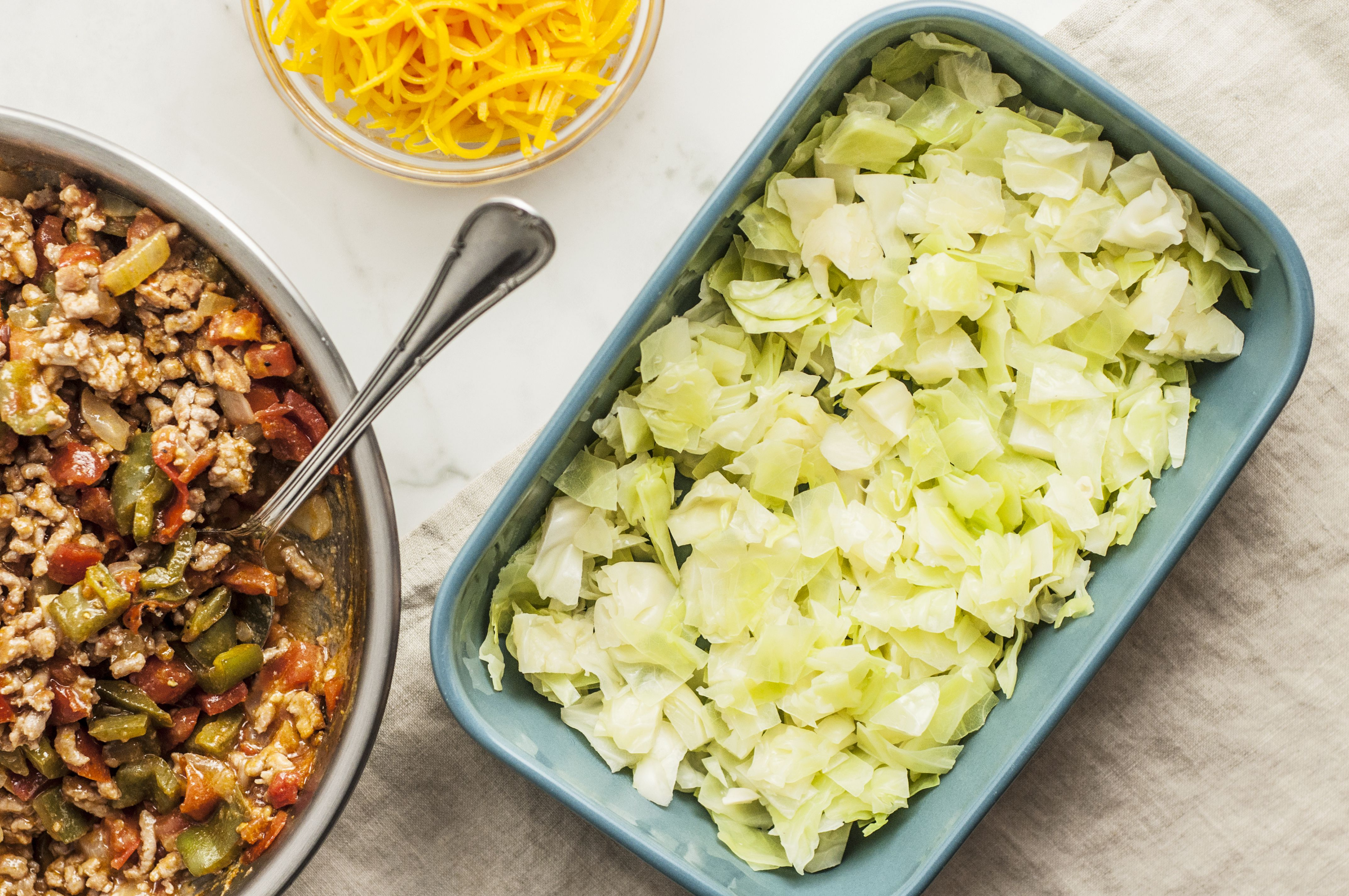 Cooked, drained cabbage in a casserole dish