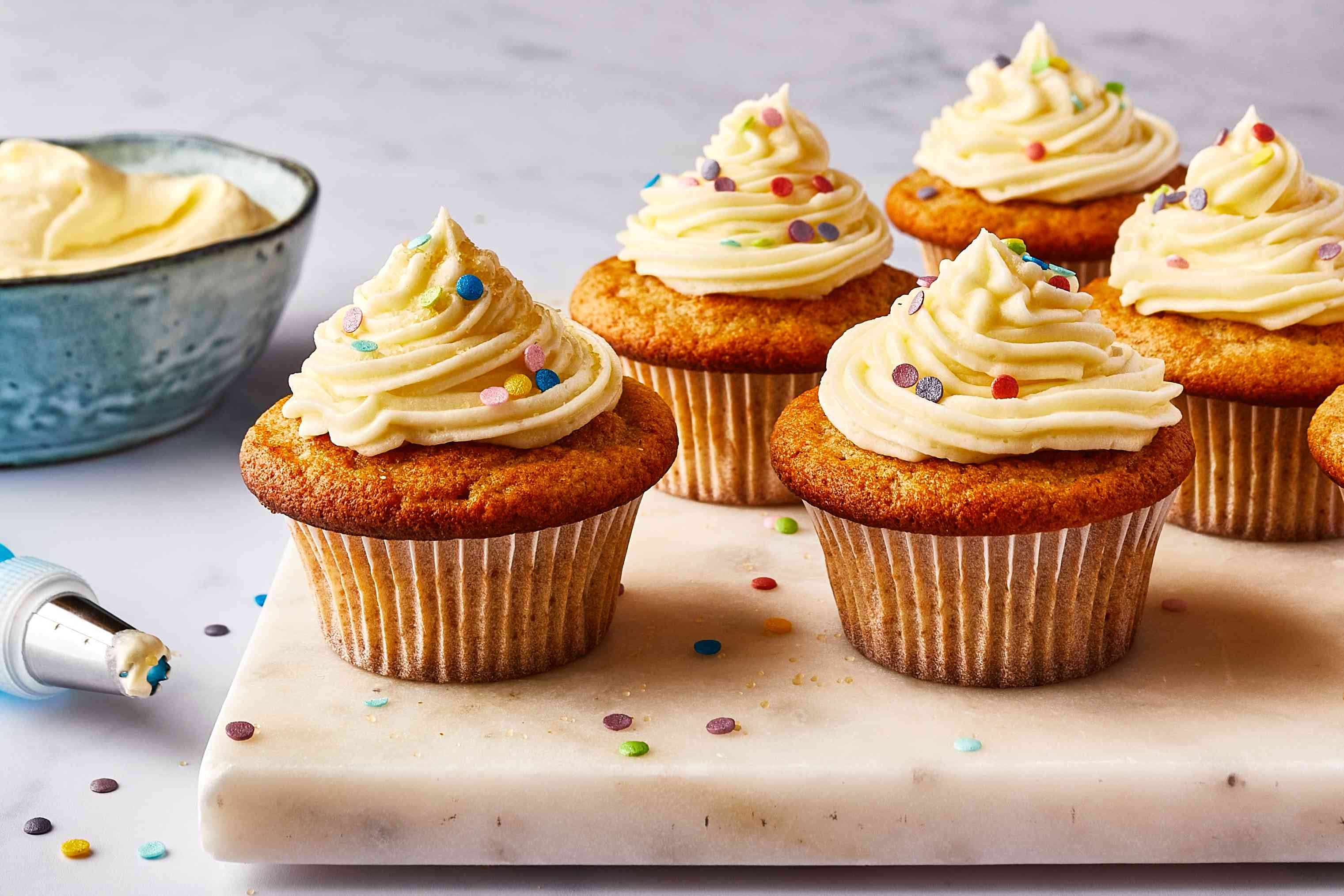 Cupcakes frosted with vegan cream cheese frosting
