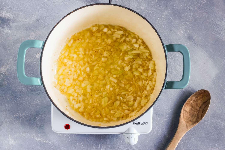 Add onion in saucepan
