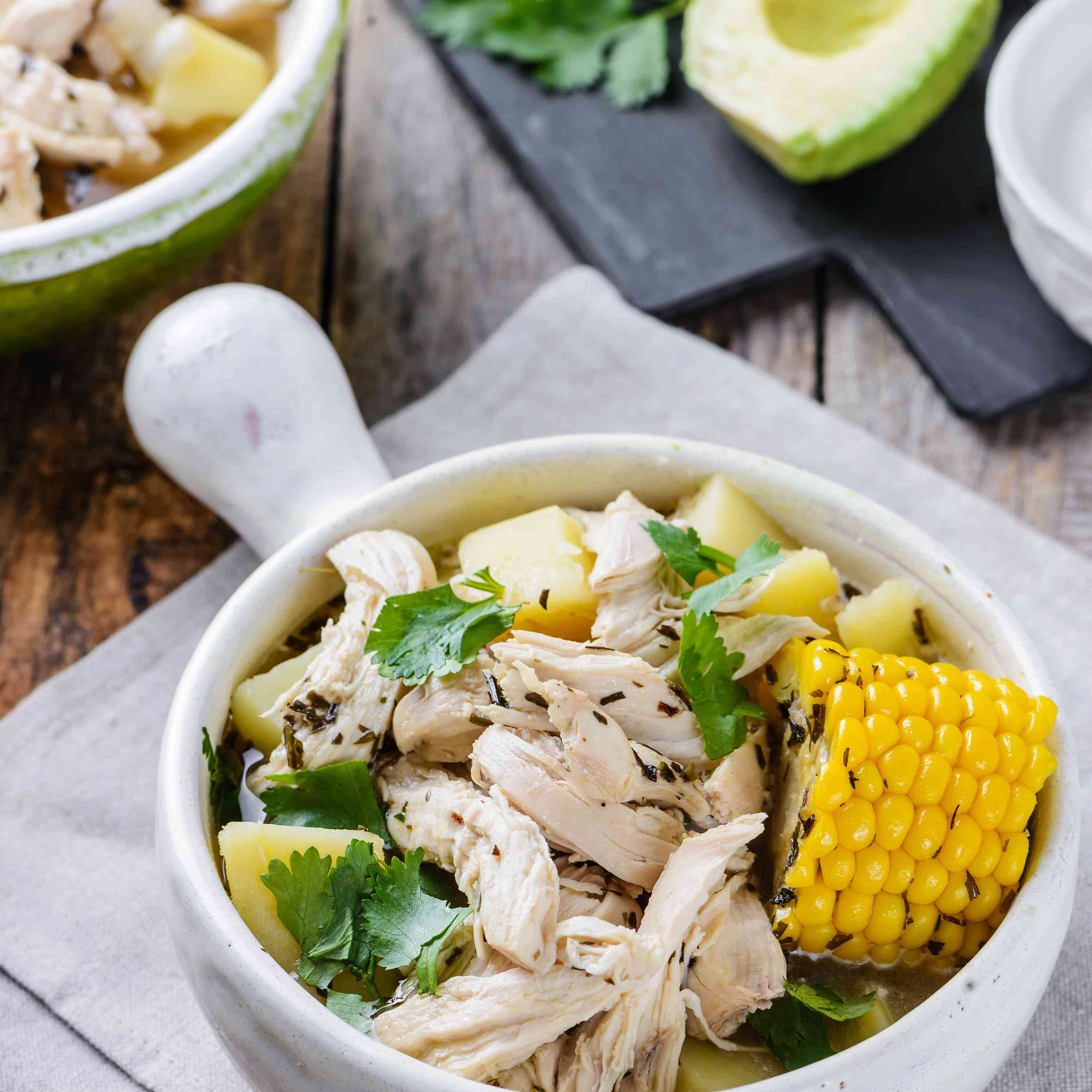 Ajiaco chicken stew in a bowl
