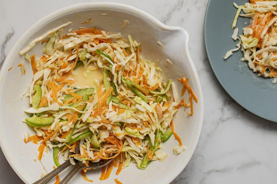 Coleslaw with vinegar or creamy dressing recipe