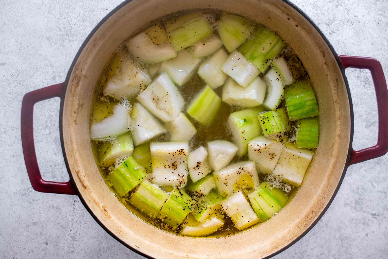 winter melon cooking in a pot, seasoned in a pot