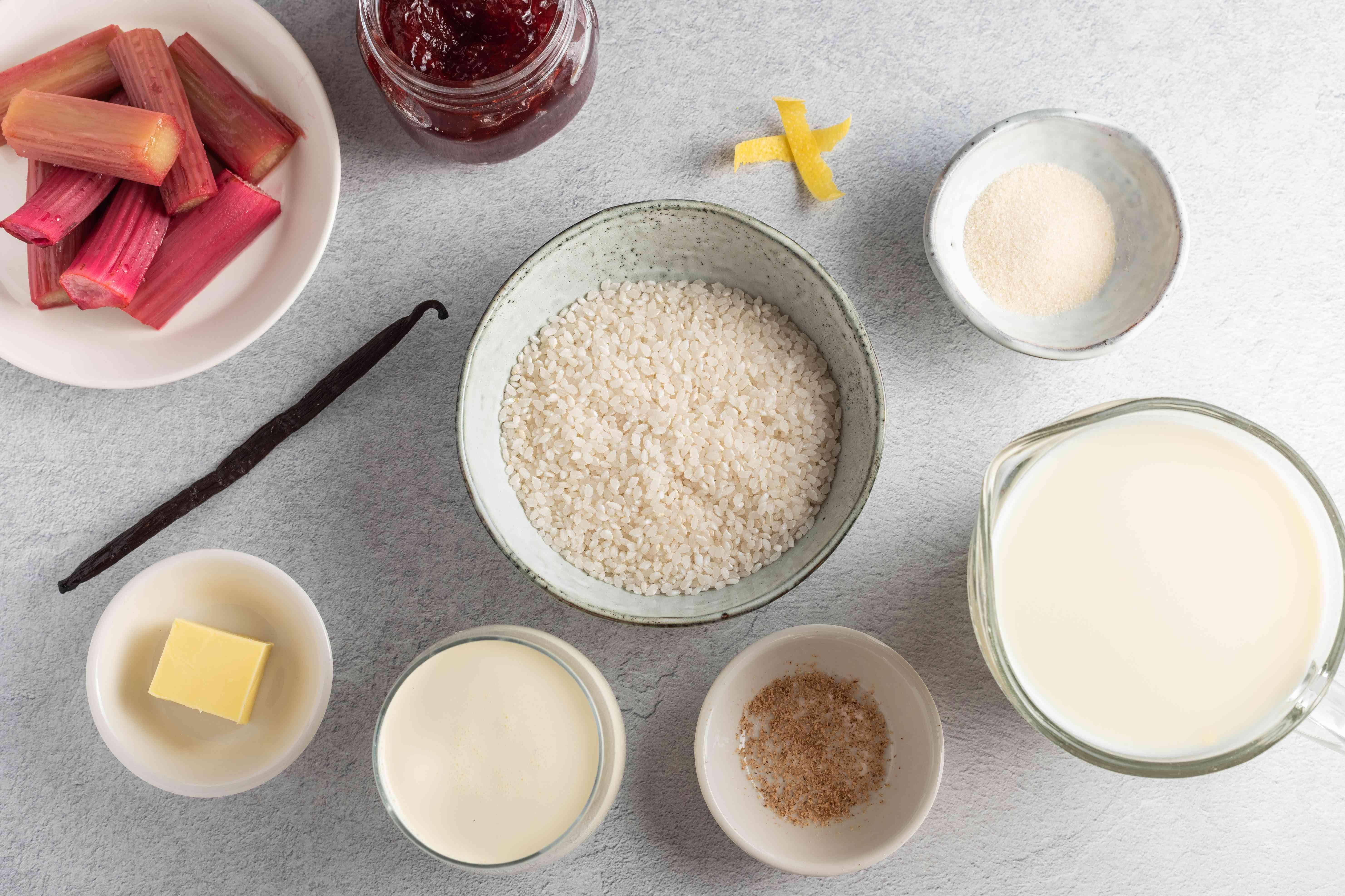 Ingredients for making British rice pudding