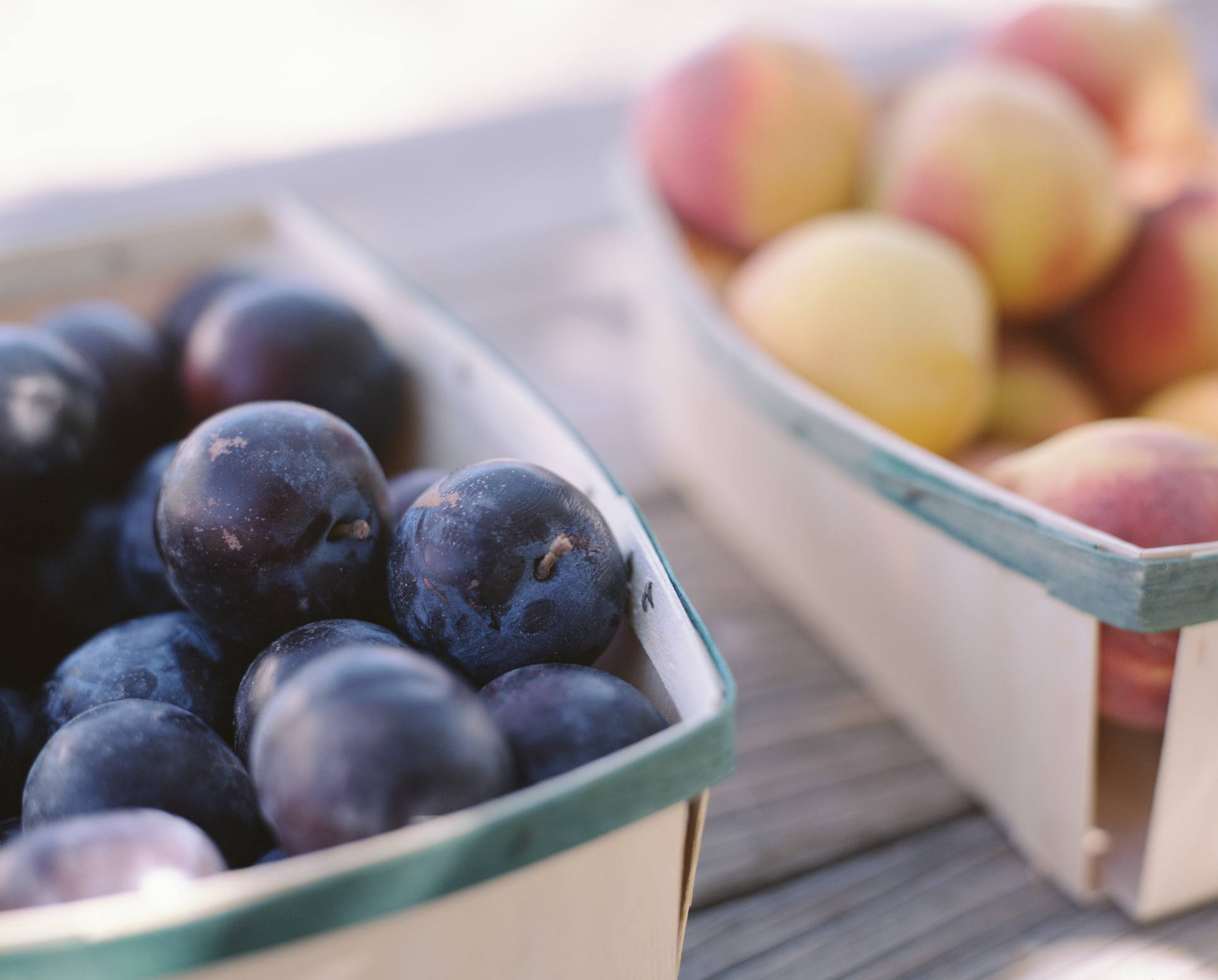 Plums and Peaches at Market