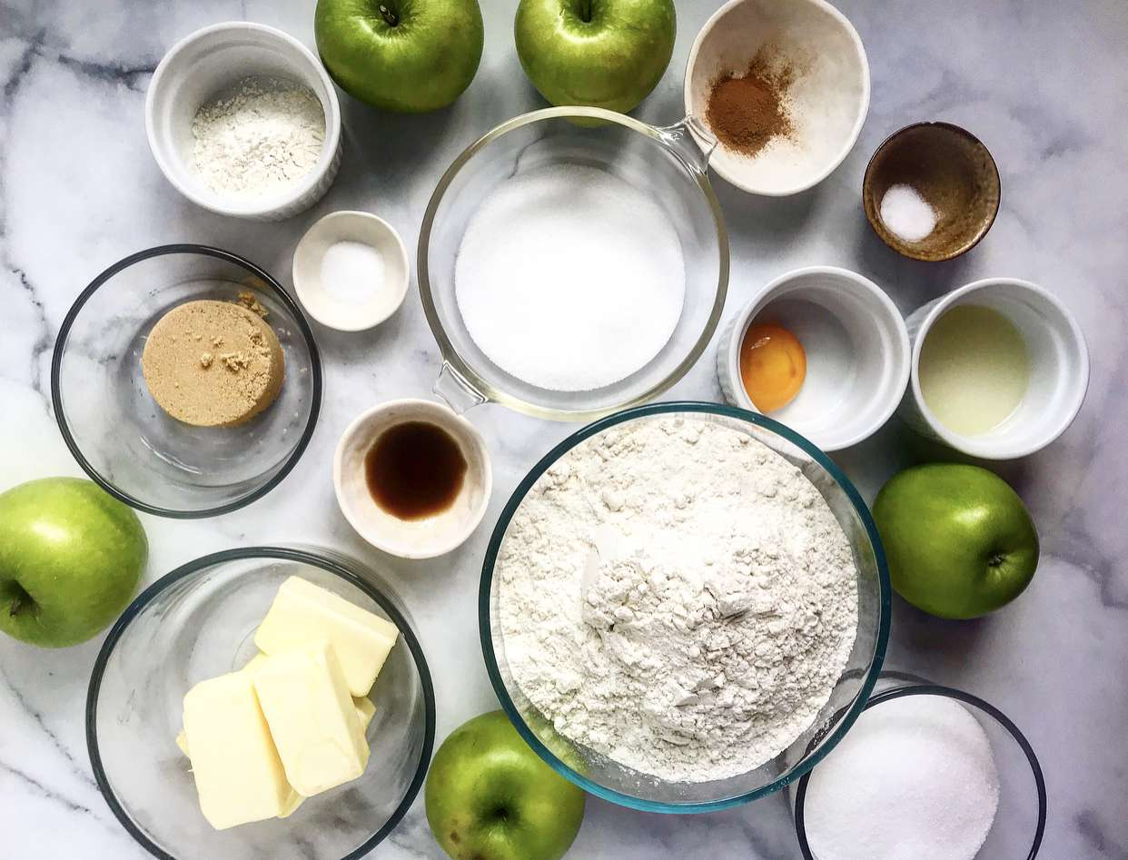 gather the ingredients for apple pie bars