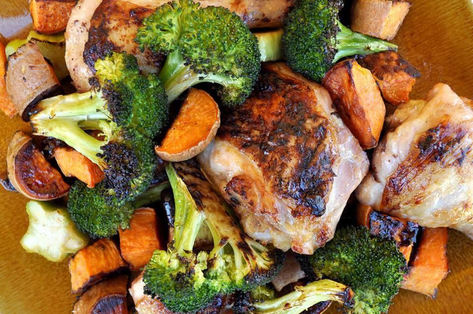 sheet pan chicken, sweet potatoes, and broccoli