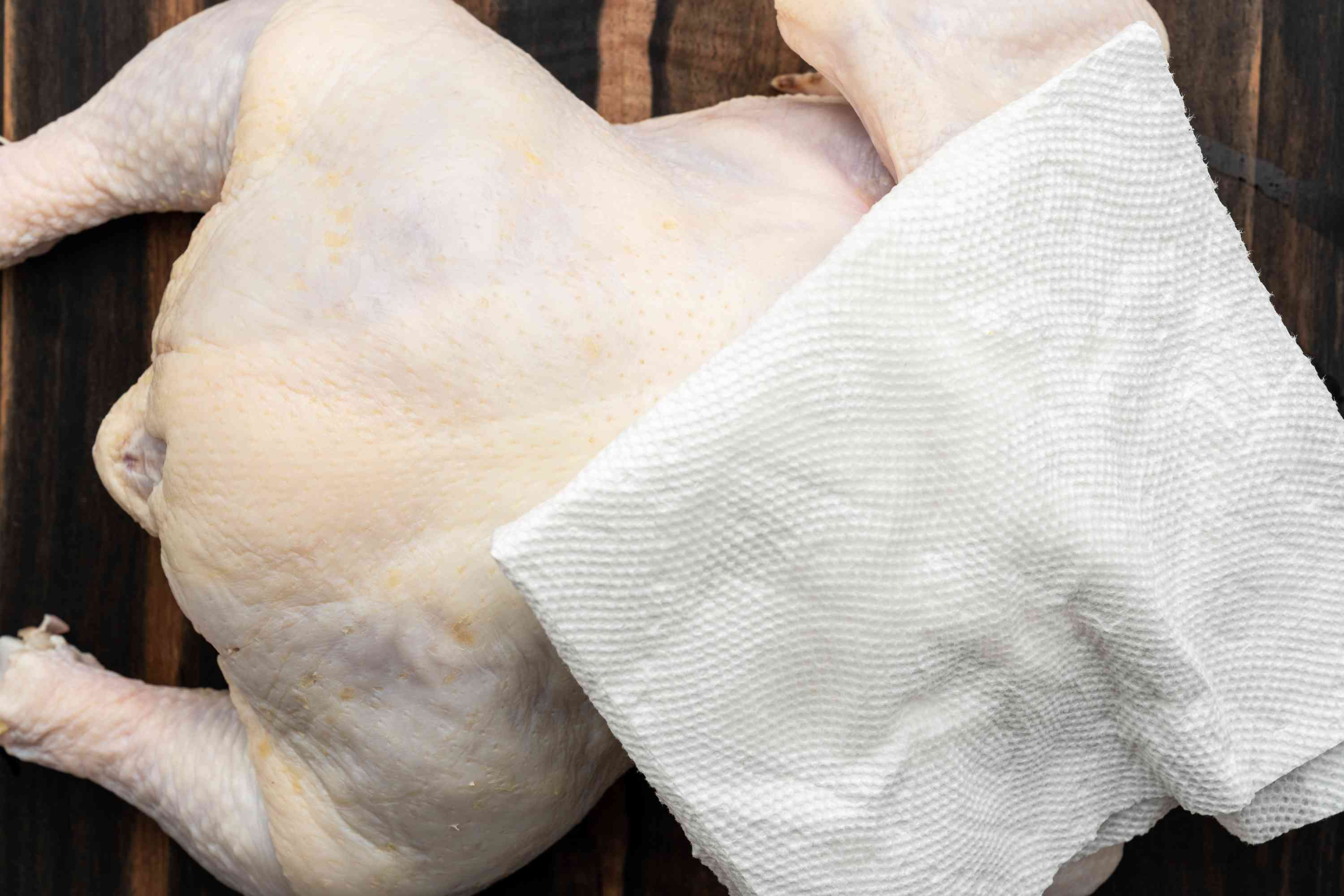 turkey patted dry with a paper towel