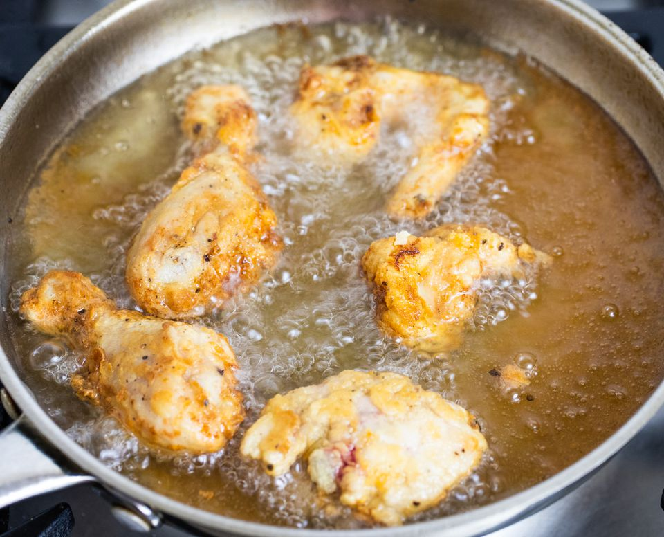 Frying southern fried chicken