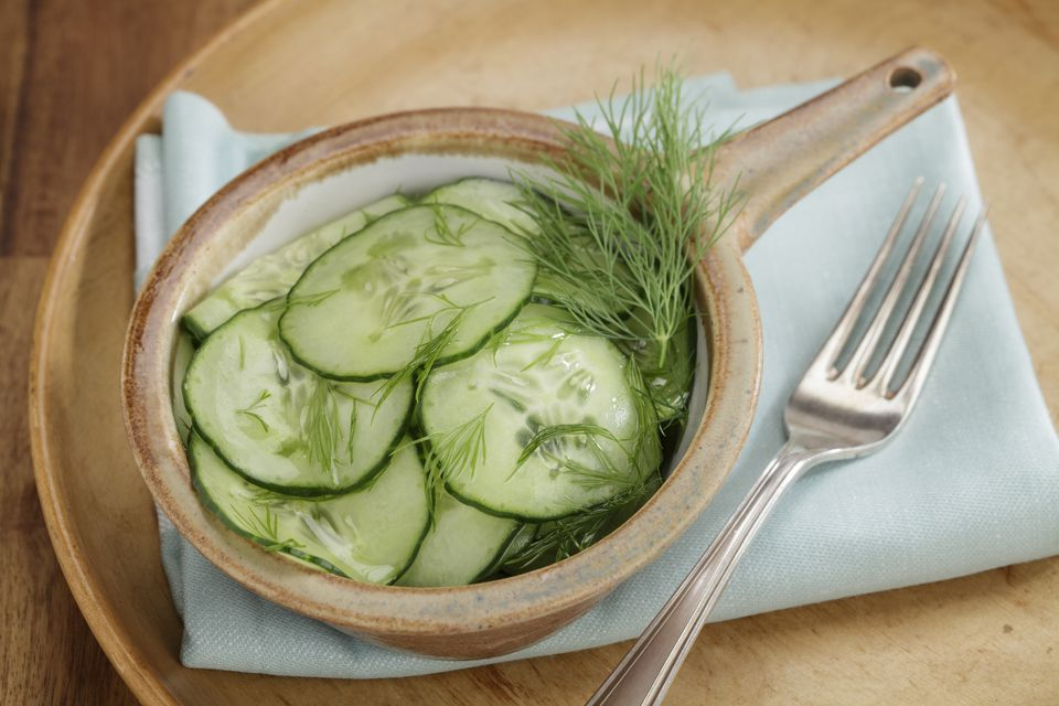 Cucumber salad with vinegar-oil dressing and dill