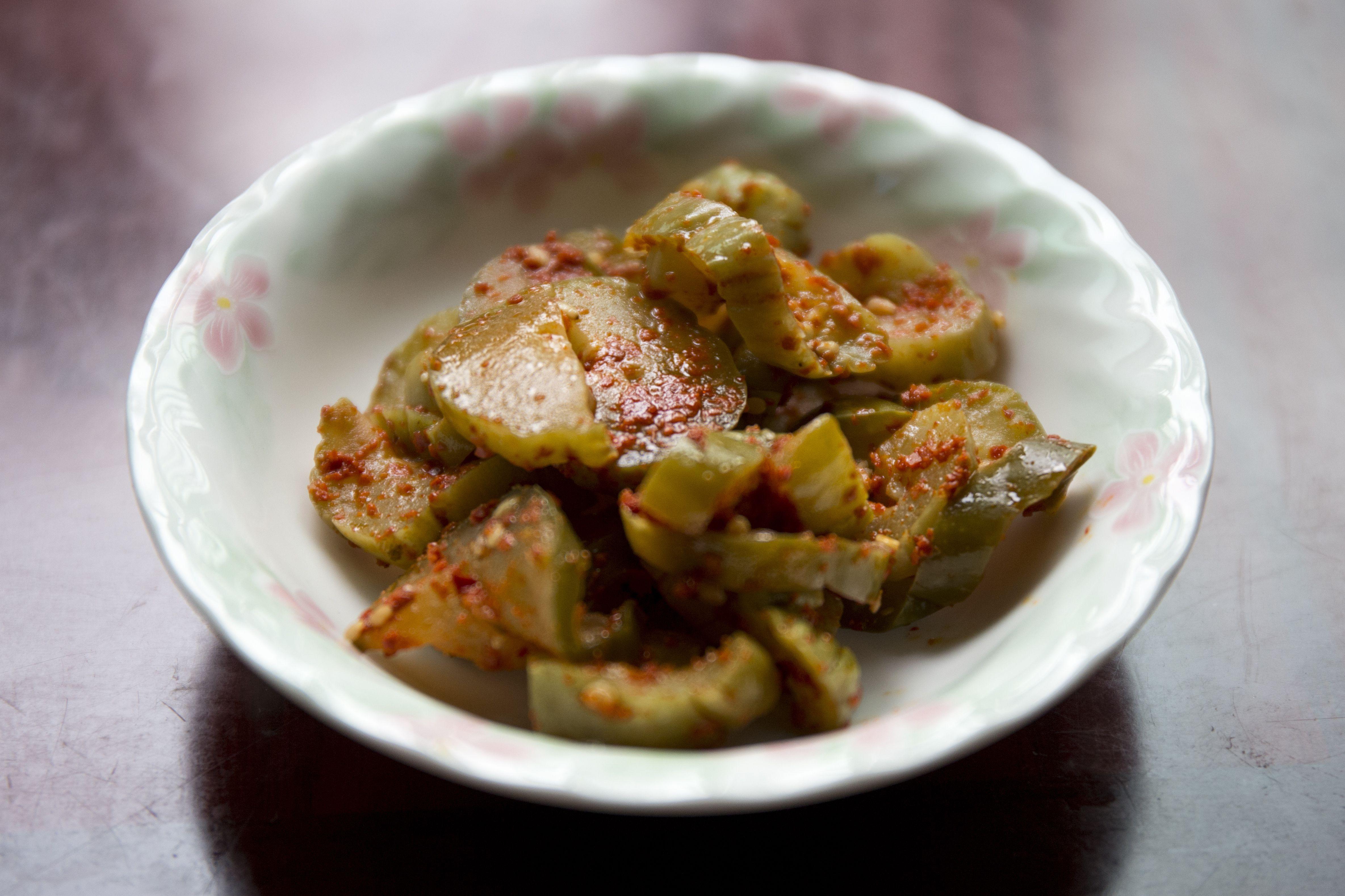 Korean side dish, pickled cucumber