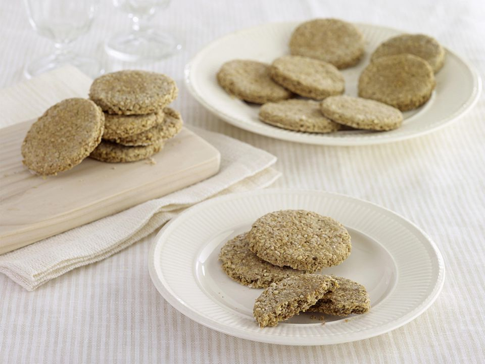 Homemade Scottish Oatcakes on plates and board