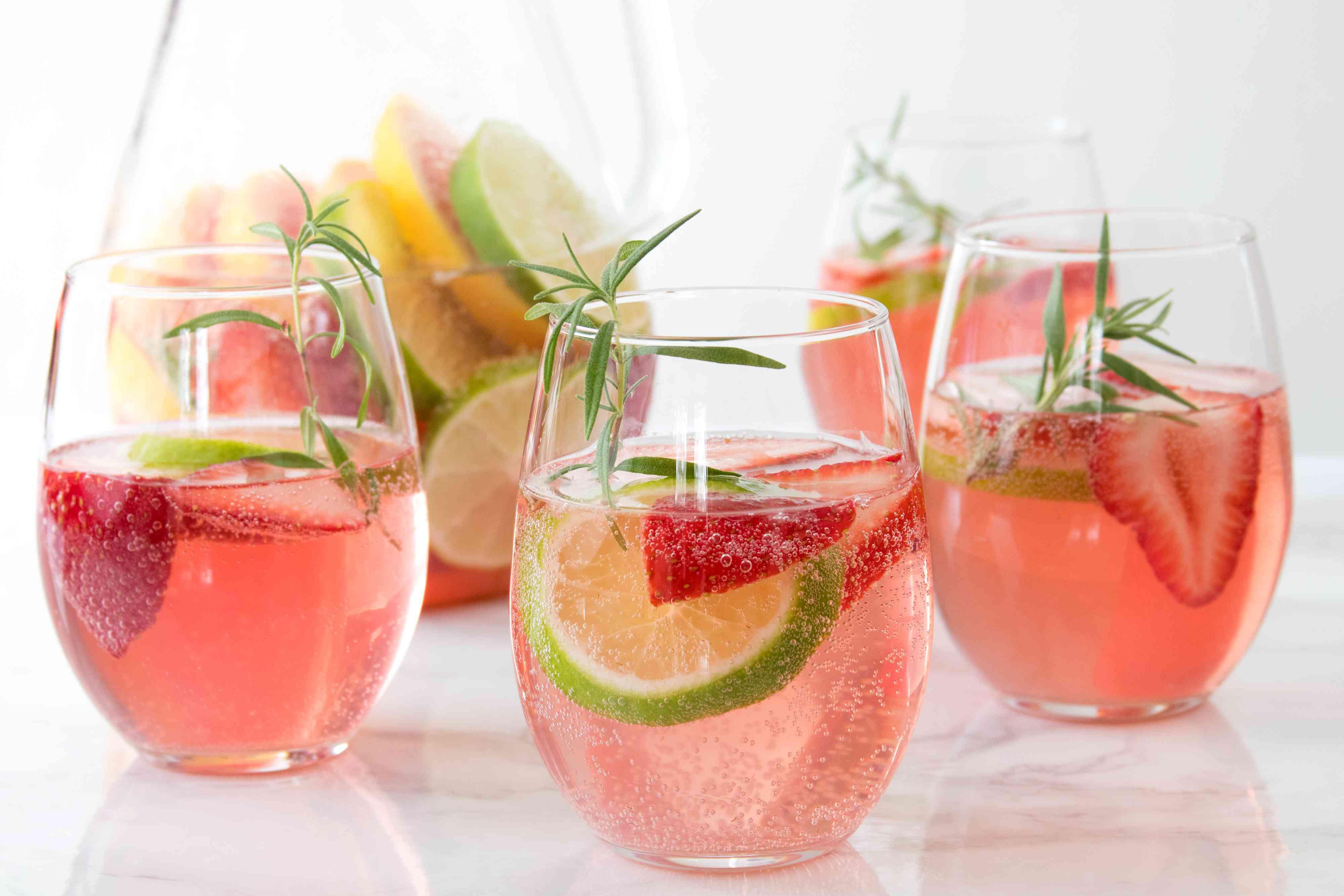 Low-Sugar Citrus, Strawberry, and Rosemary Sangria